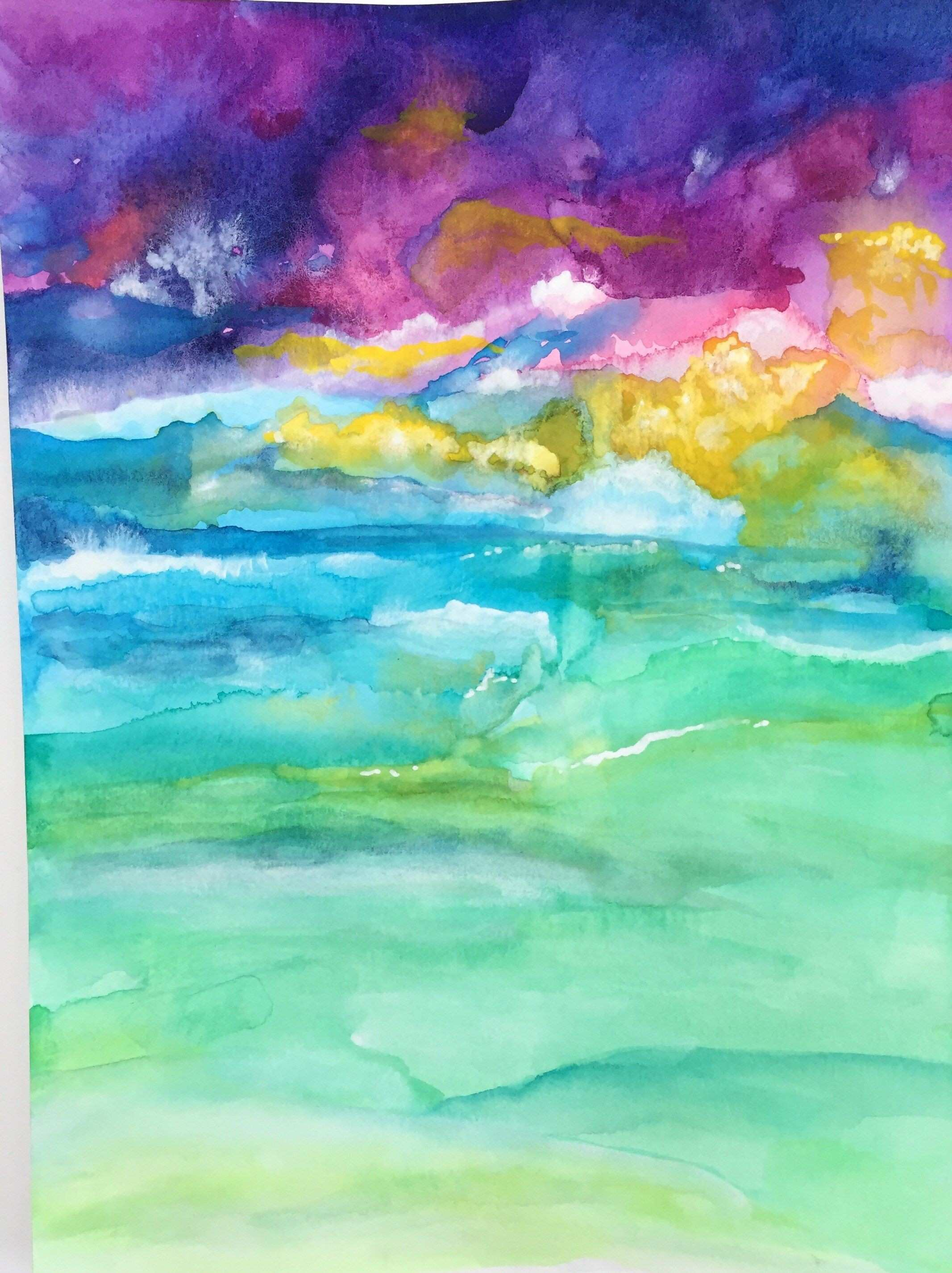 Sea Calms Original Affordable Watercolor Painting Abstract