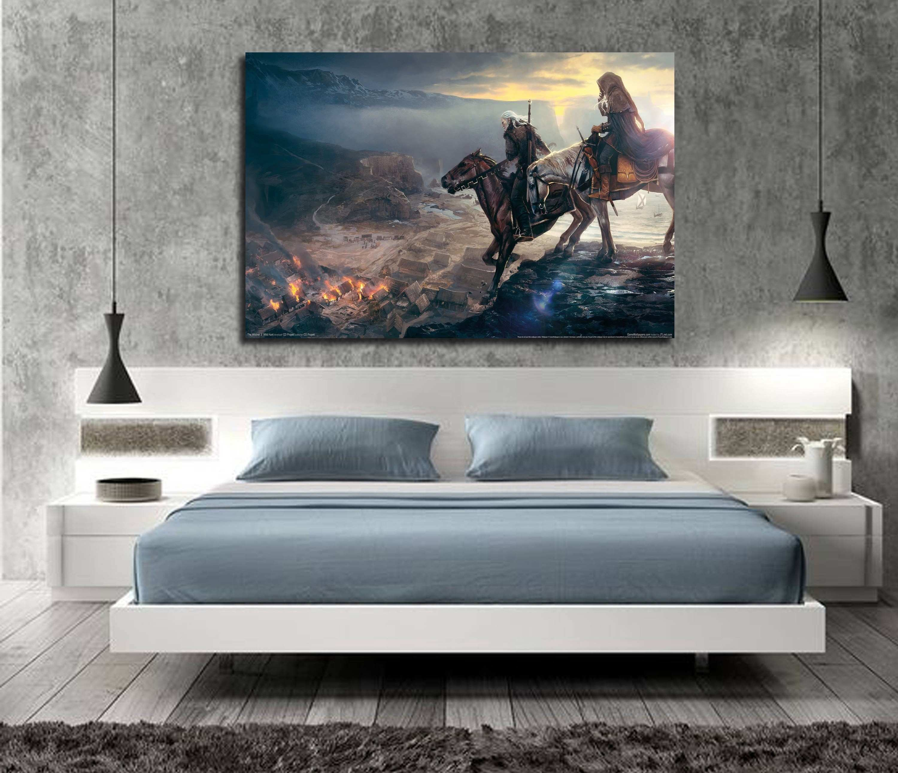 Geralt The Witcher 3 Wild Hunt Hot Game Art Silk Fabric Poster Print
