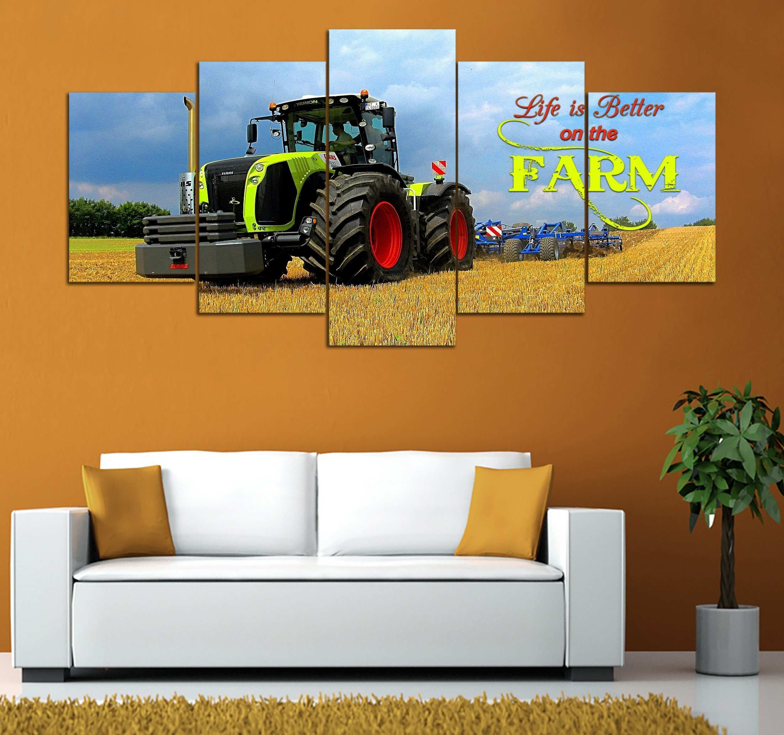 5 pieceTractor and Farm Life printed Canvas Wall Art Monkstars Inc