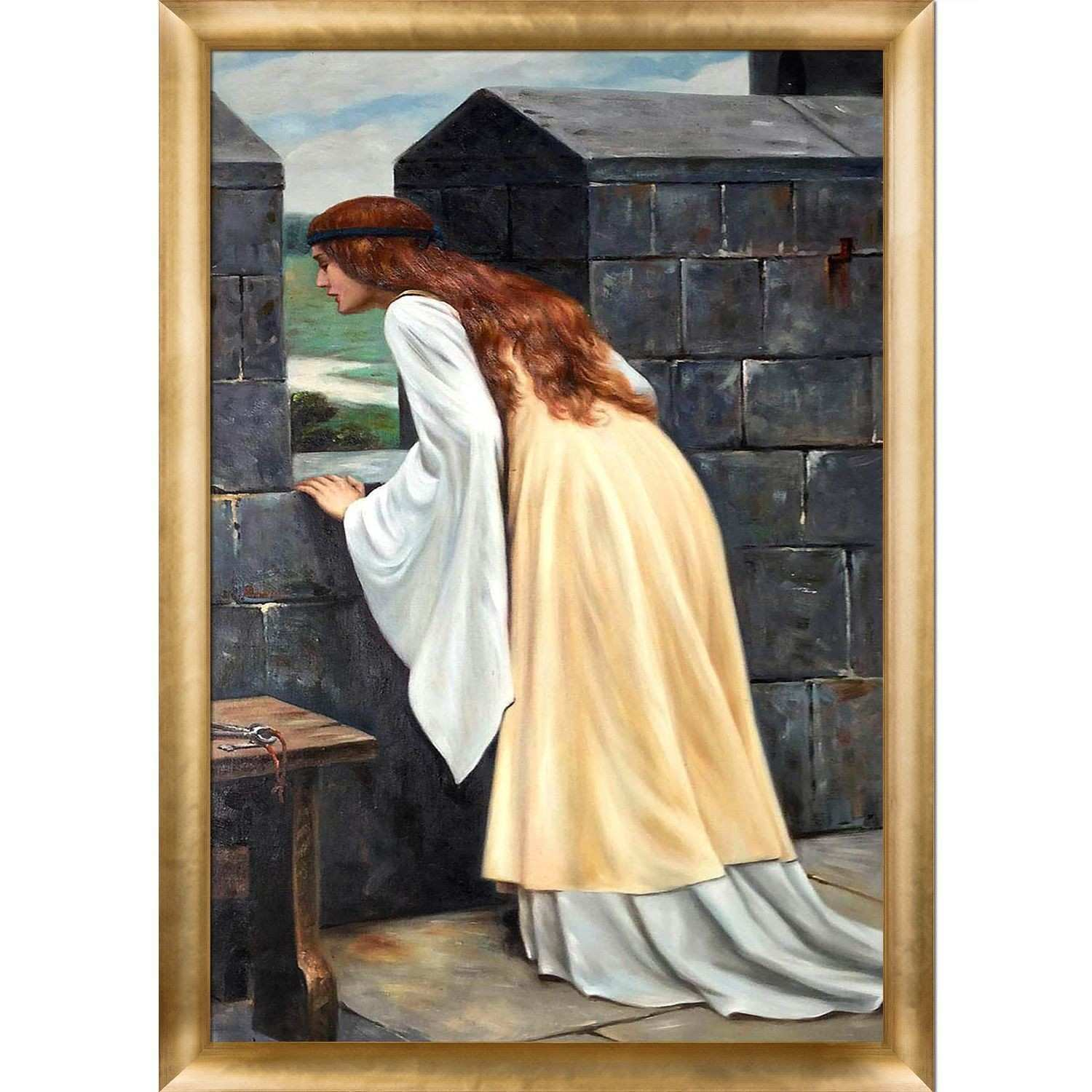 La Pastiche Edmund Leighton An Arrival 1916 Hand Painted Framed
