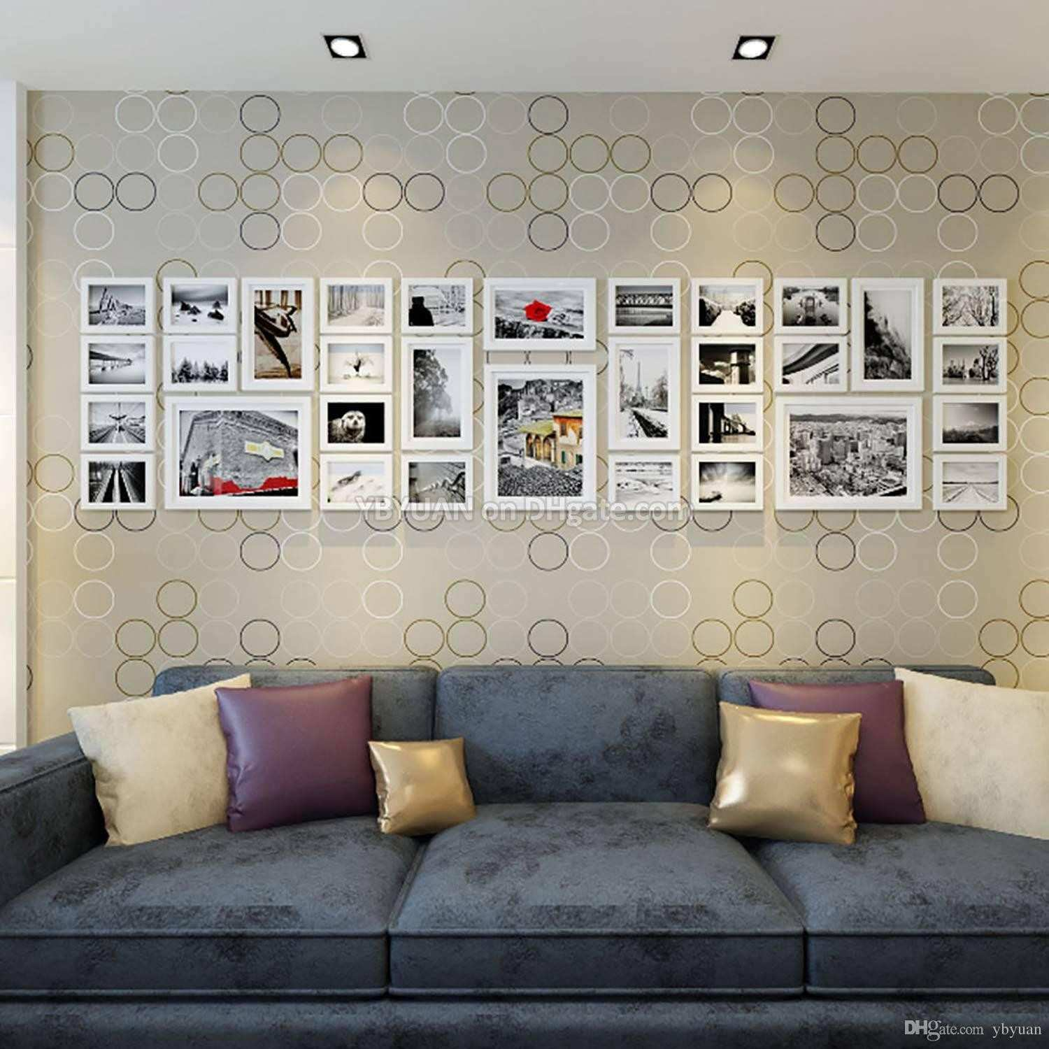 Wood Frames Gallery Wall White Modern Style Flat Border