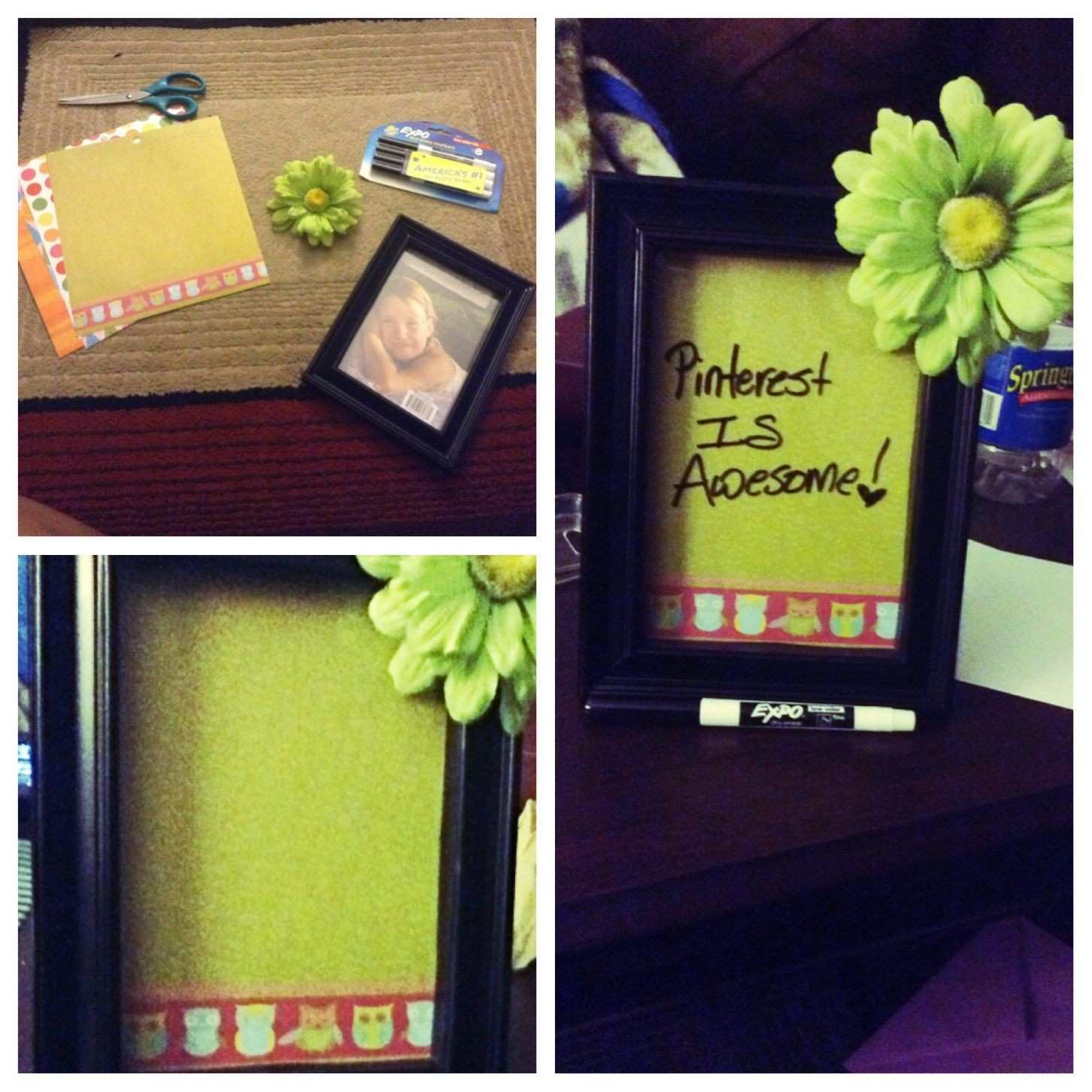 DIY dry erase board You will just need scrapbook paper your chosen