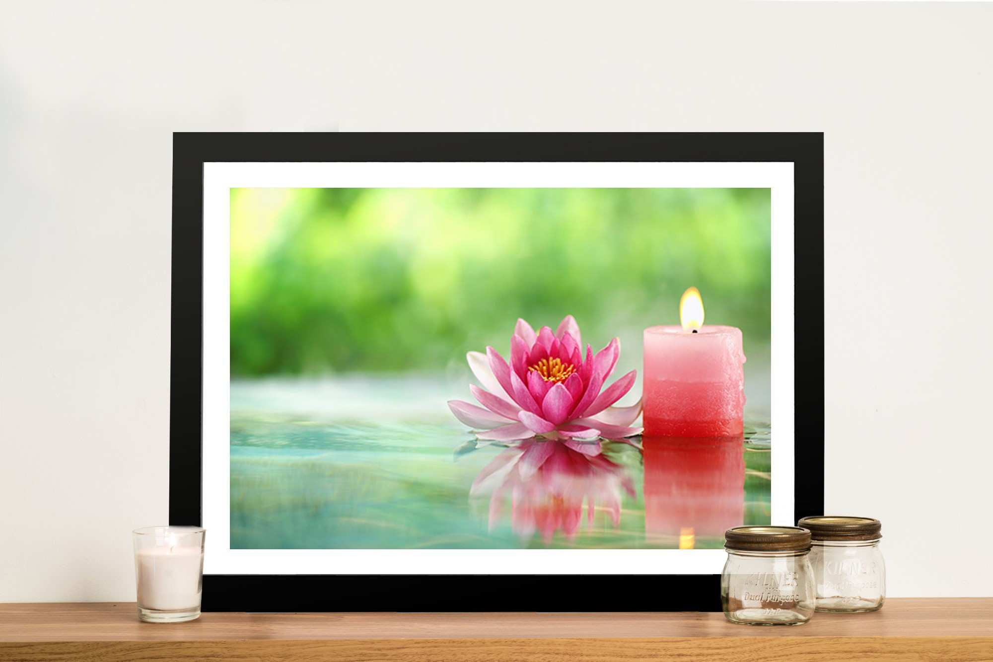 Lotus Flower And Candle Canvas Prints