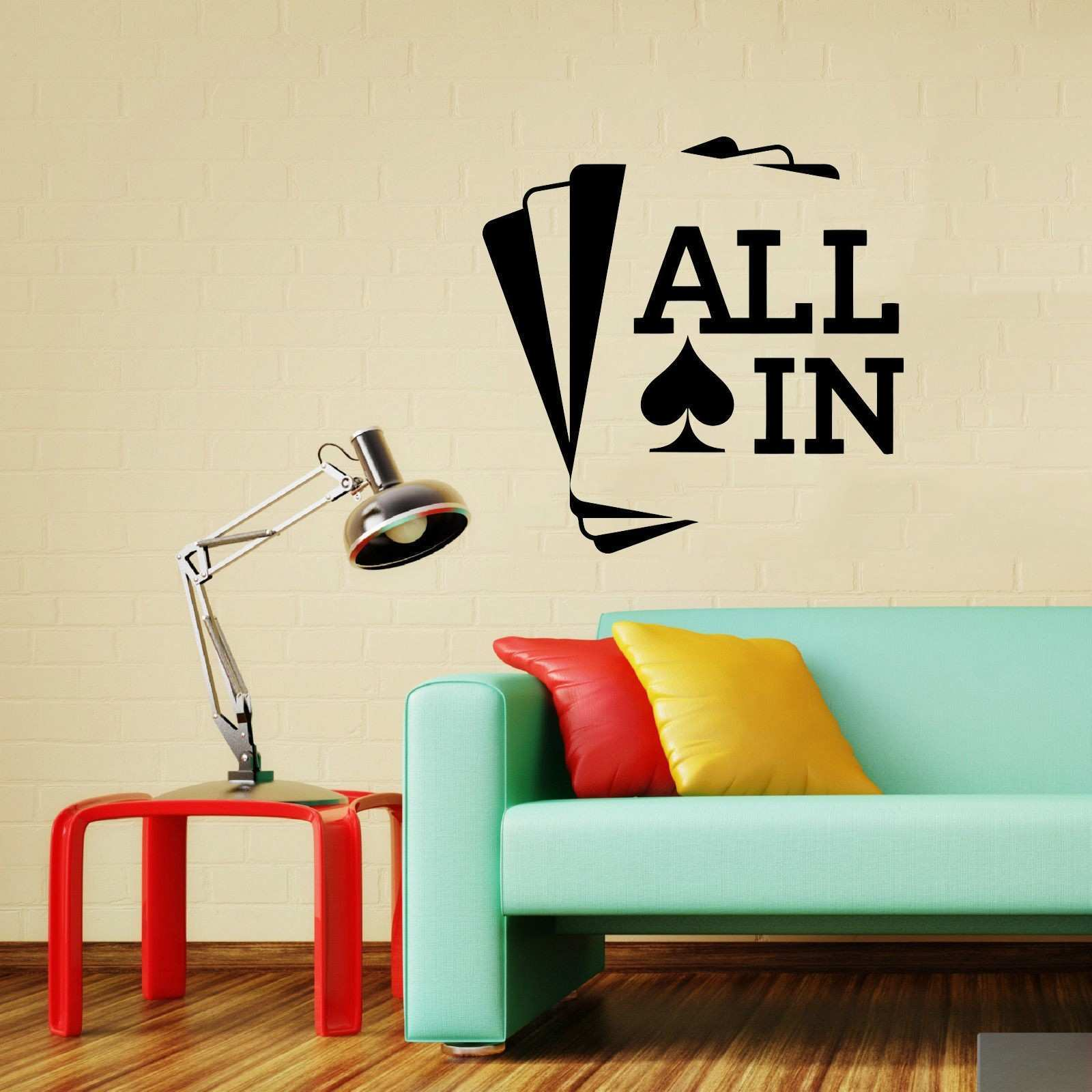 All In Poker Wall Decal Cards Game Casino Vinyl Sticker Art Decor