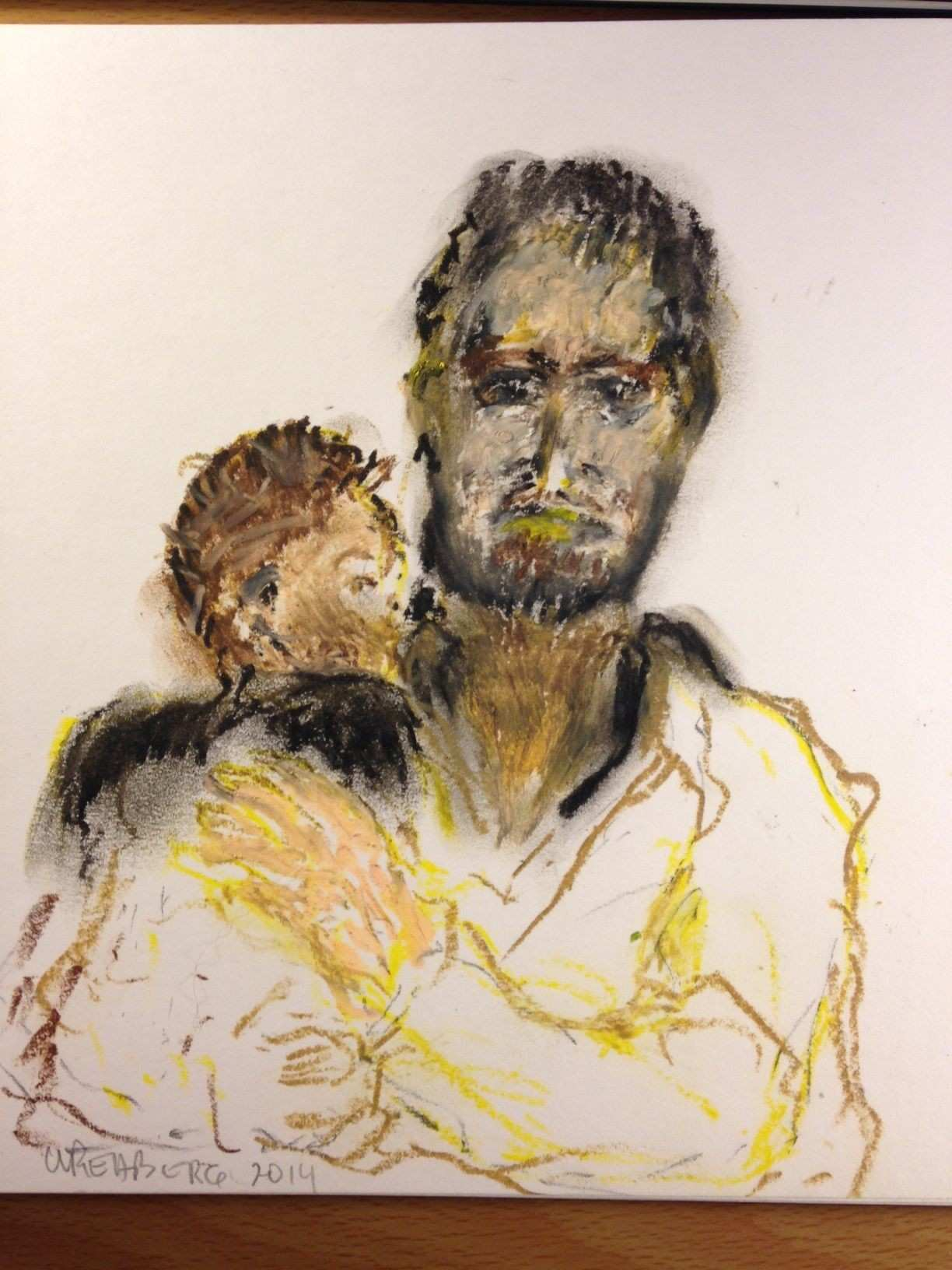 """Refugee man and child oil pastel sketch 8""""x10"""" feeling out an"""