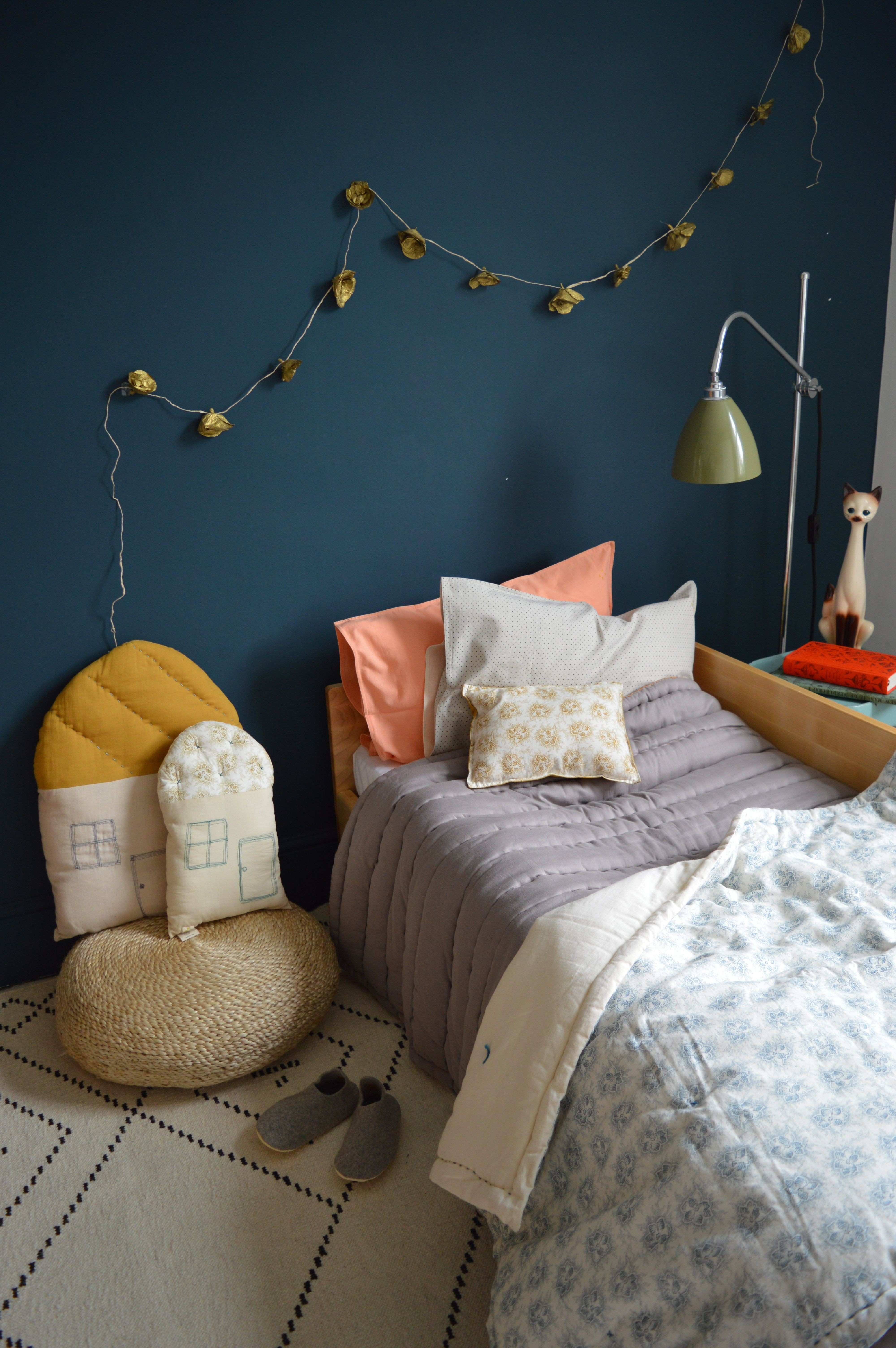 All by Camomile London dark teal walls in kids bedroom