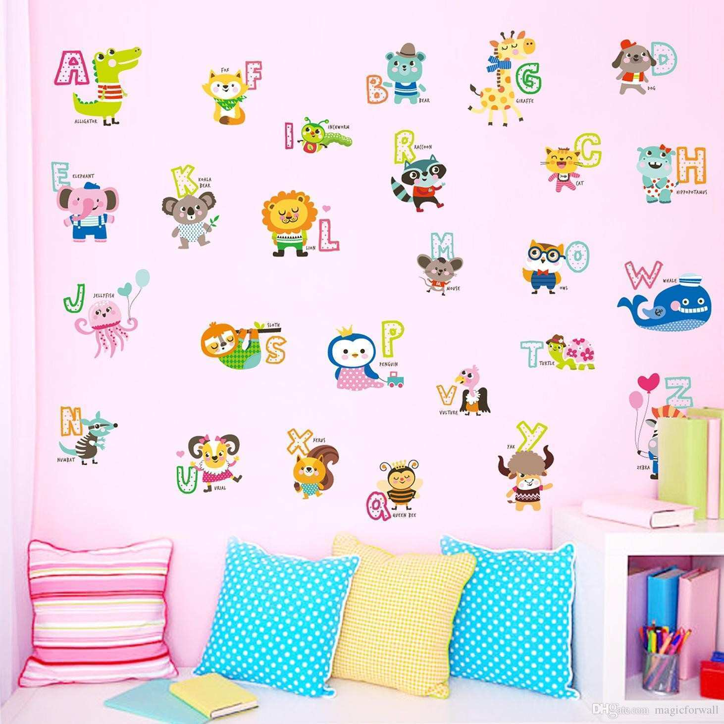 Cartoon Animals Alphabet English Letters Wall Stickers Kids Boys