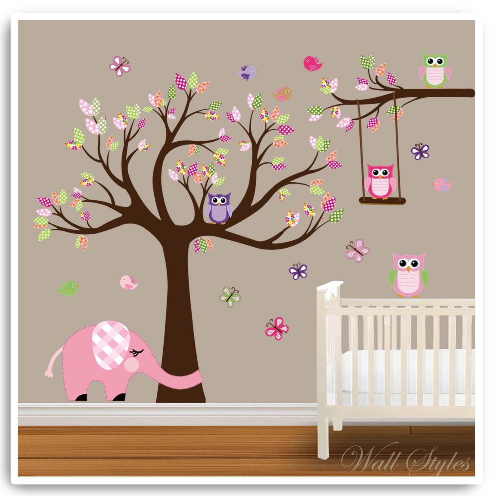 Animal Wall Stickers Owl Jungle Zoo Tree Baby Nursery Bedroom Decals