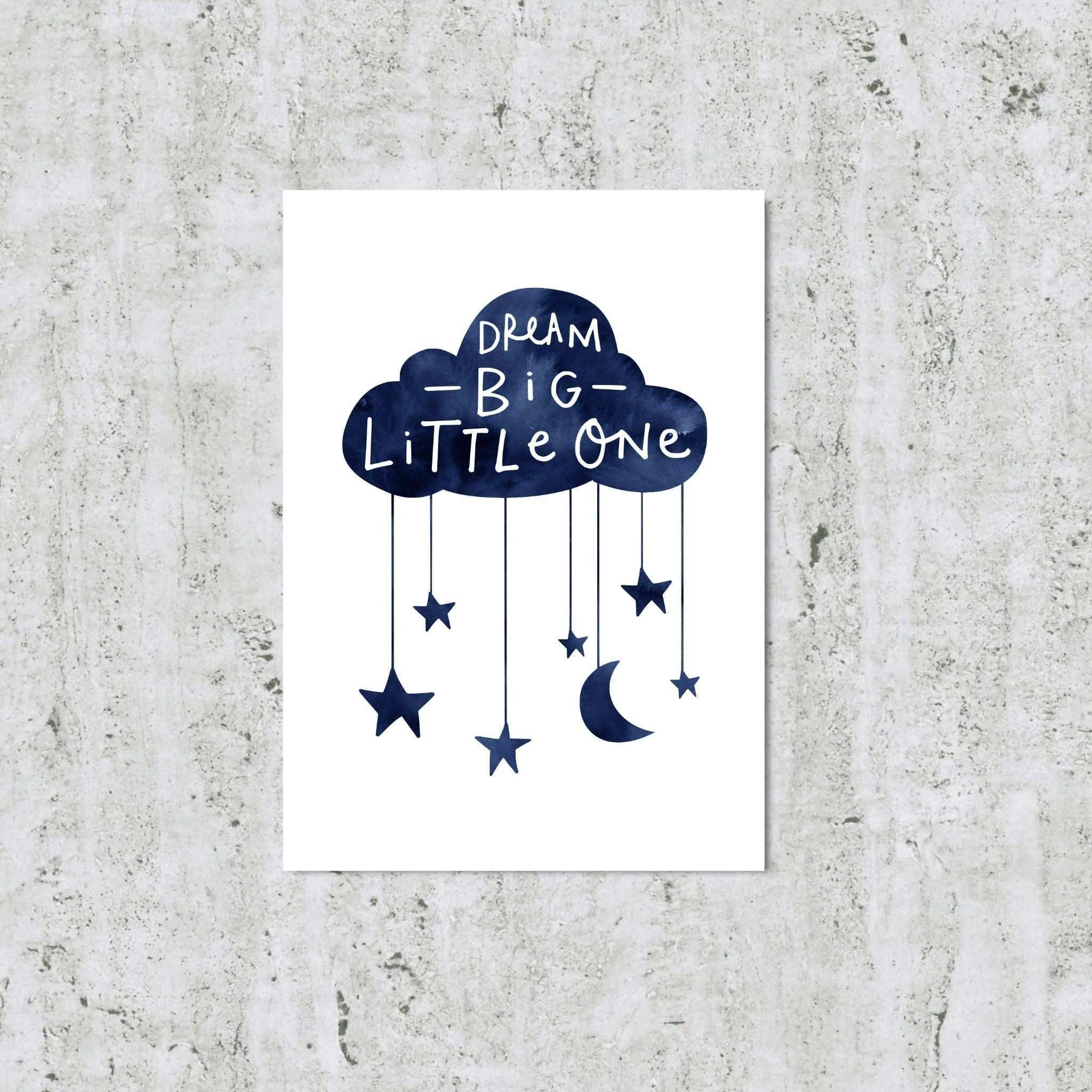 Dream Big Little e Cloud Print Navy Nursery Wall Art Watercolor