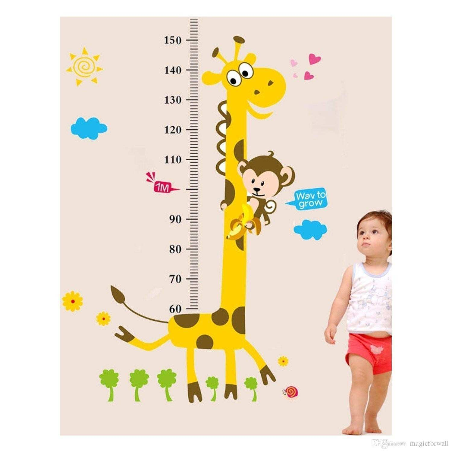 Cute Giraffe Monkey Height Ruler Wall Decal Stickers Removable PVC