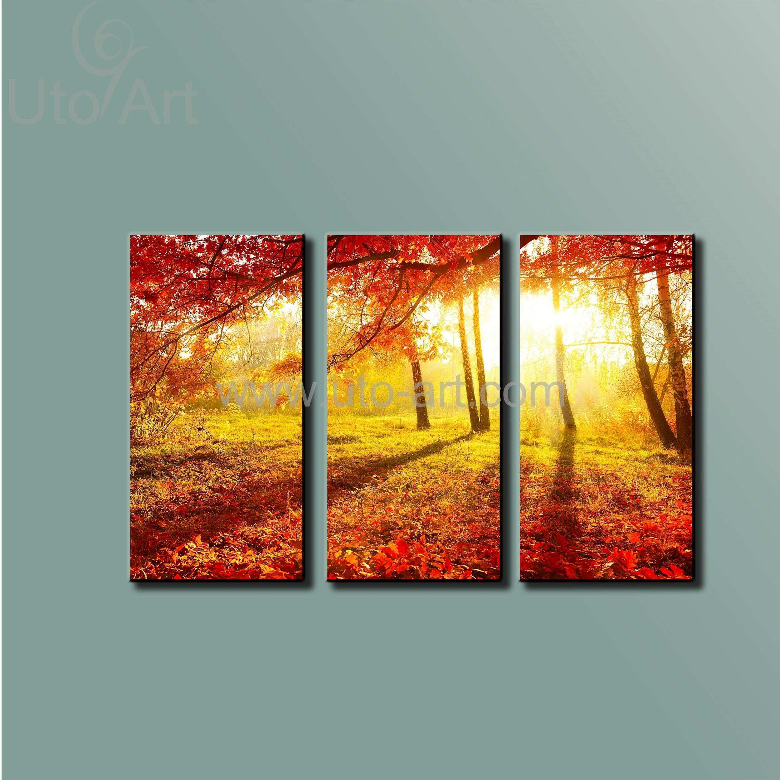 2018 Morden 5 Panels Modern Sunset Red Trees Hd Picture Canvas Print