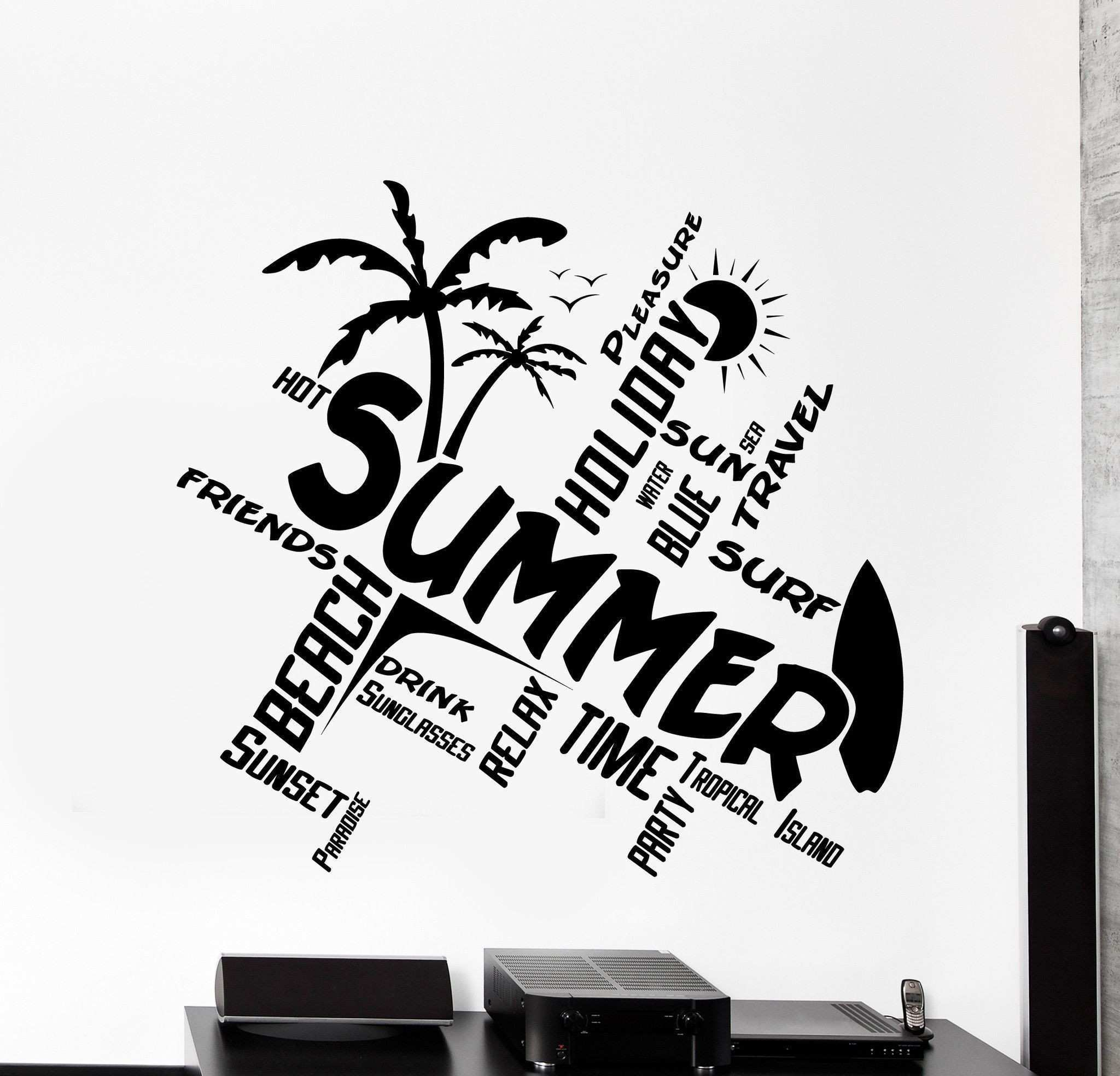 Wall Vinyl Decal Quotes Word Cloud Summer Travel Beach Surf Home