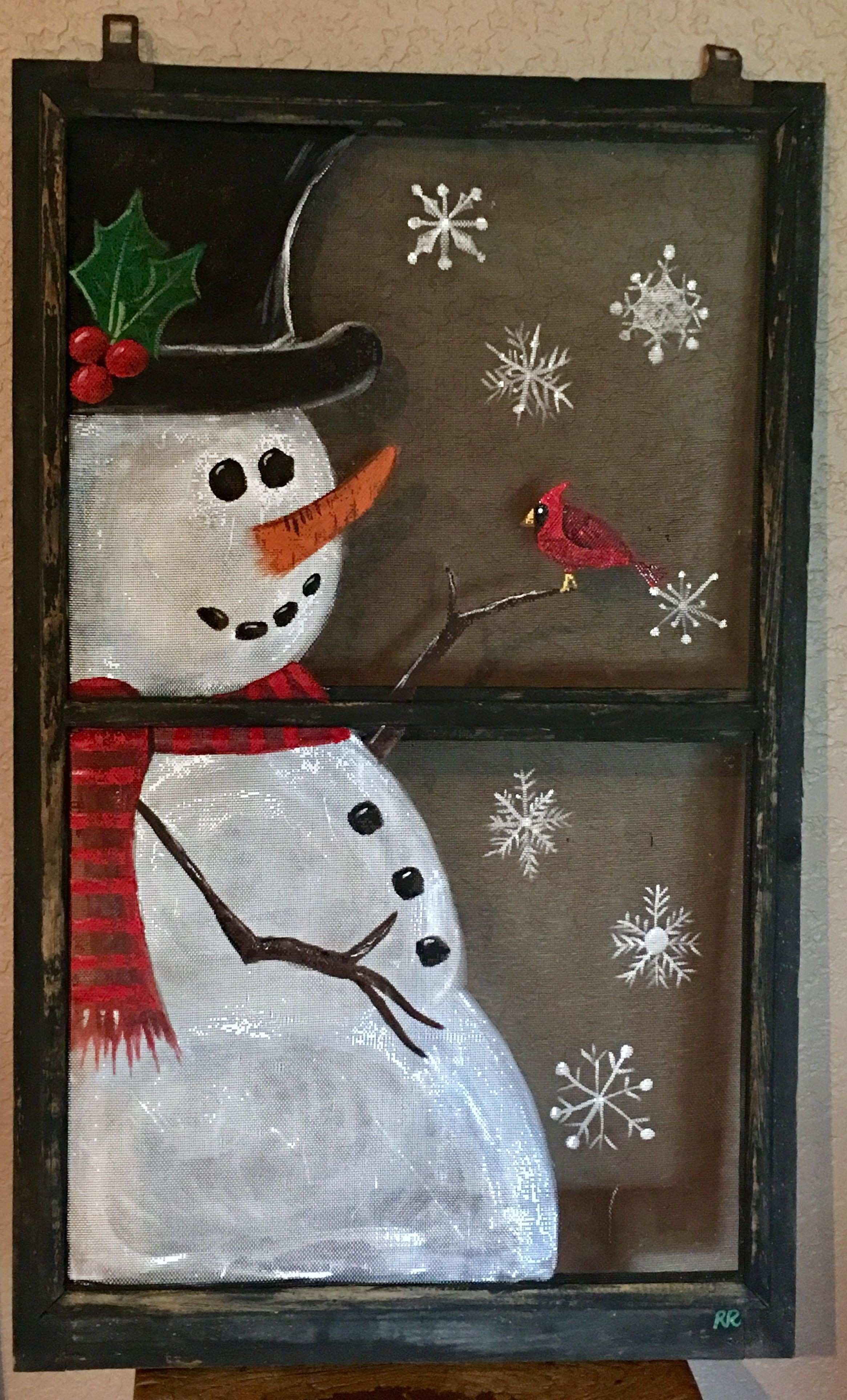 Hand Painted Antique Window Screen Christmas decor