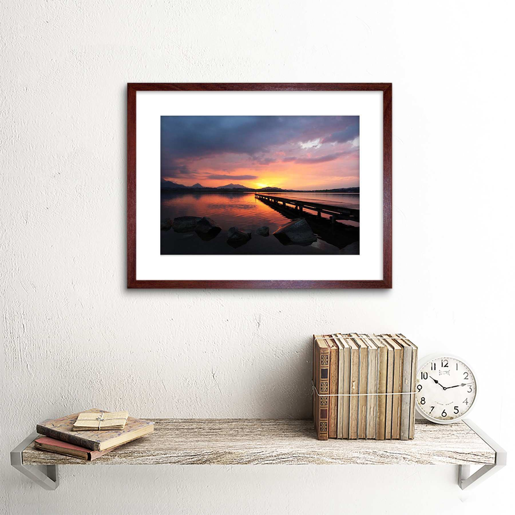 Sunset Dock Lake Framed Art Print Poster Picture Wall