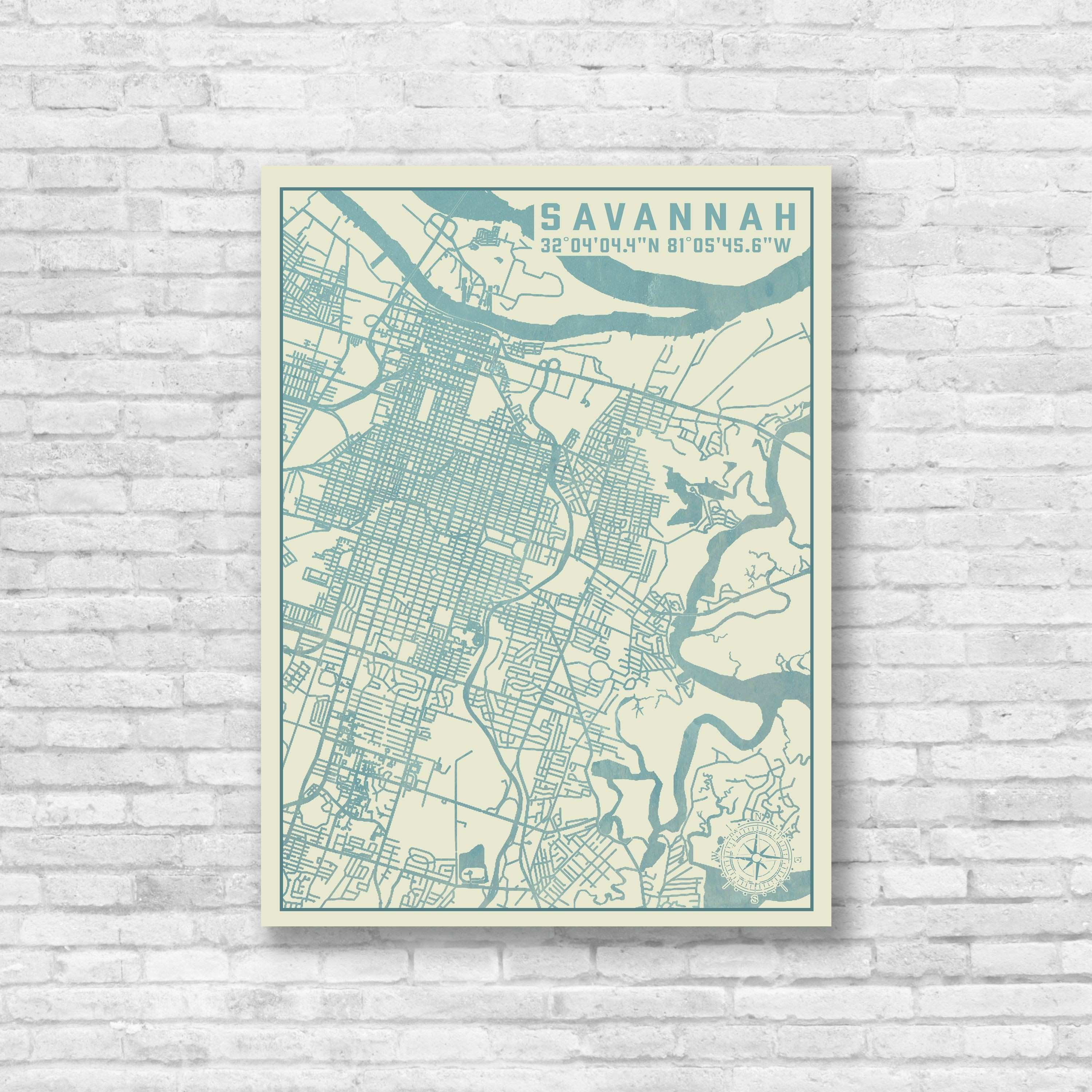 Savannah Georgia City Map Map Decor Savannah Map Savannah