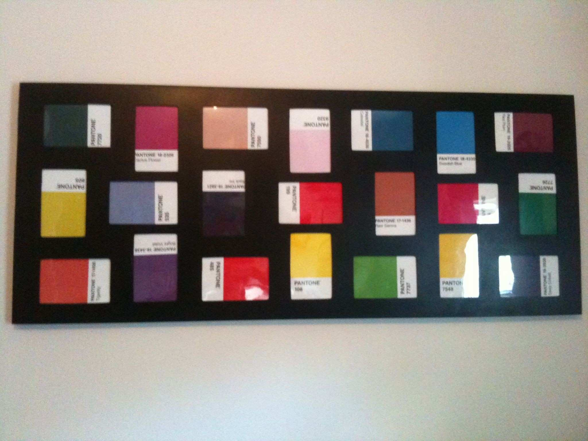 Put Pantone postcards in a photo collage frame