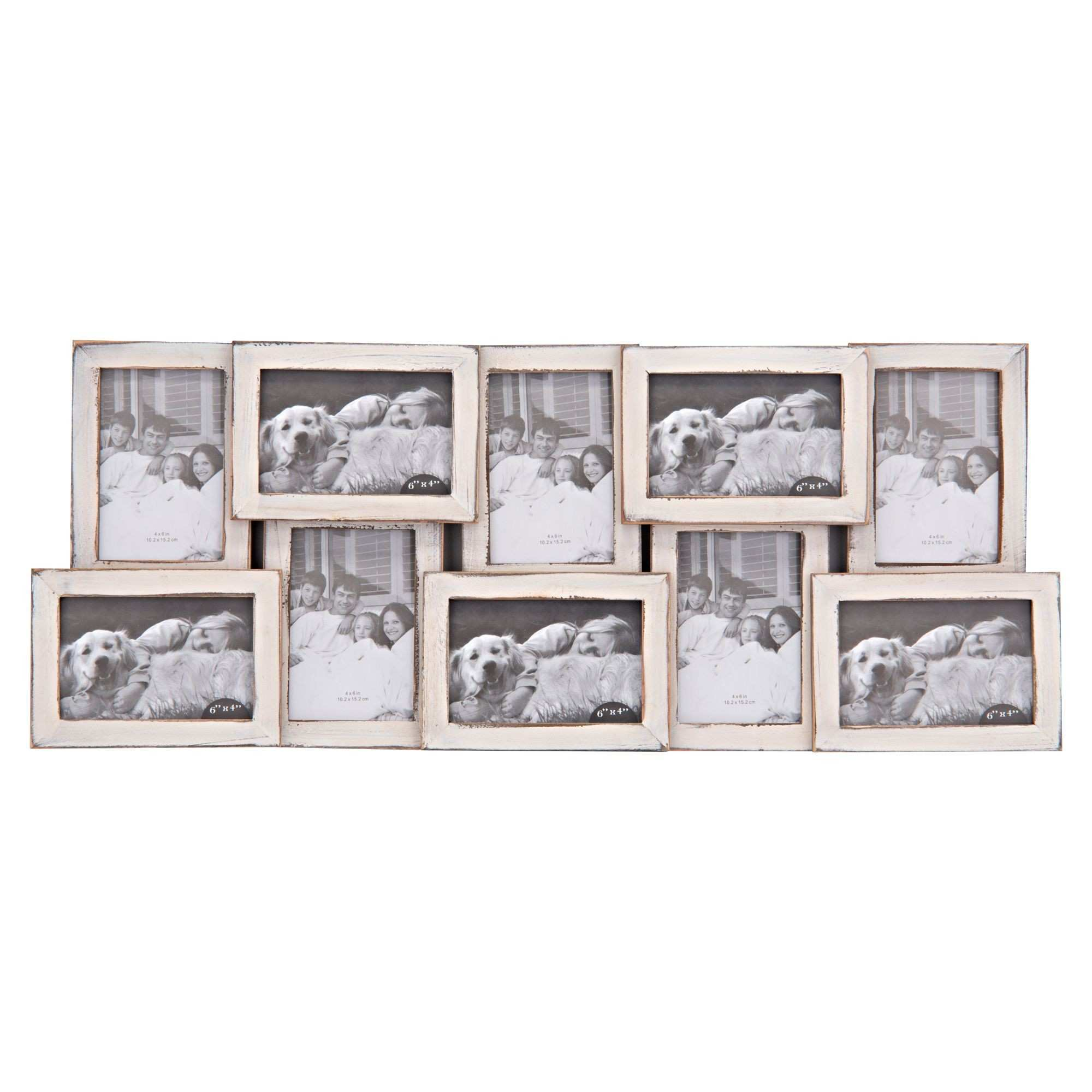 """10 Opening Distressed Collage Frame White 4"""" x 6"""" Gordmans"""