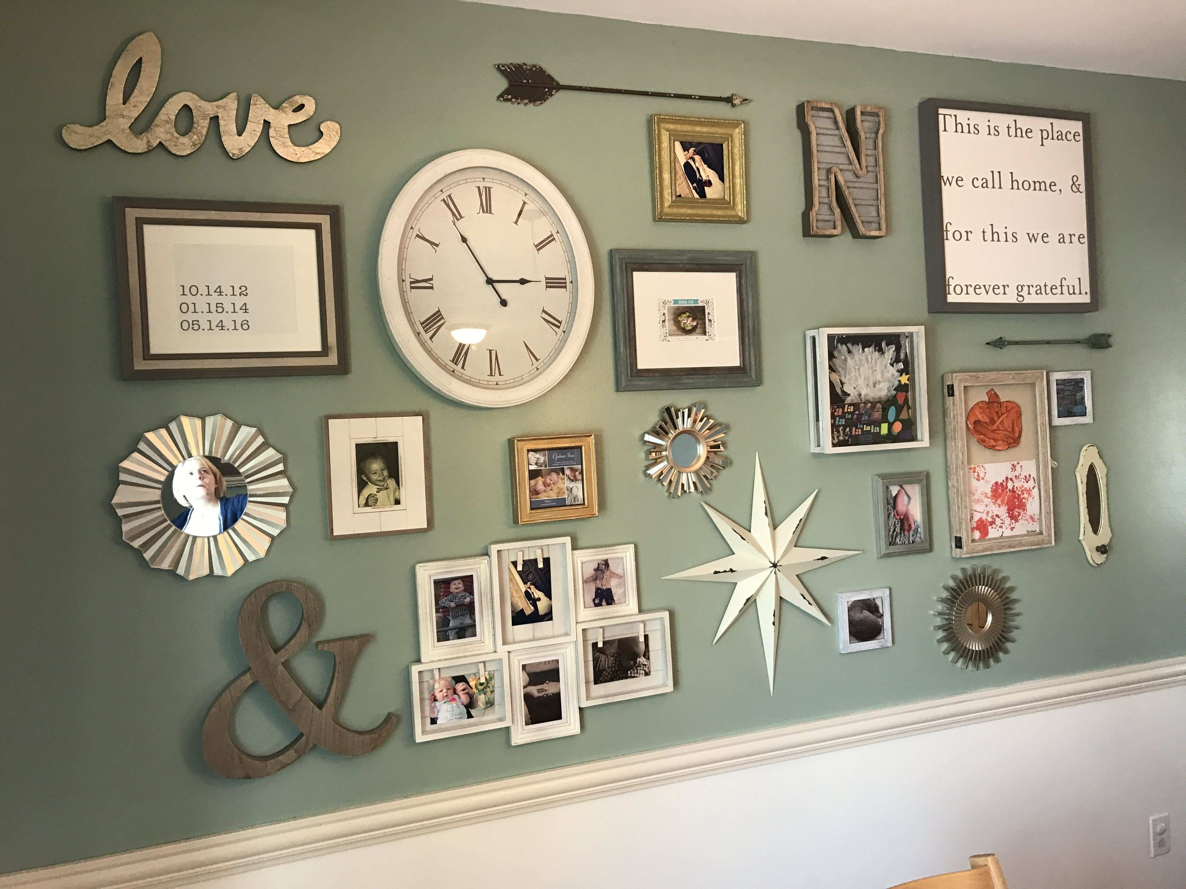 Gallery wall Anniversary and kids birthdates Shadow boxes for