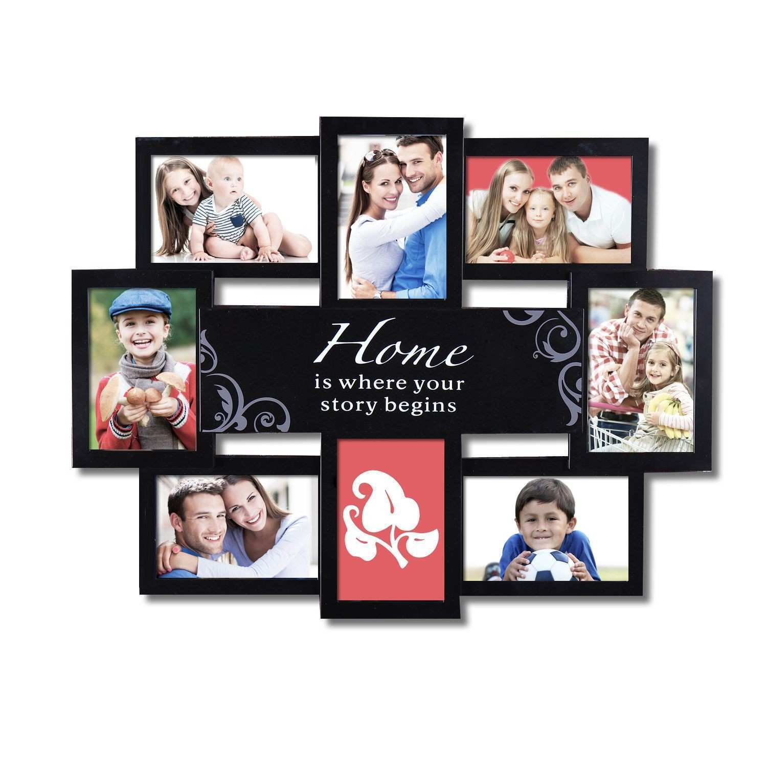 """Adeco Decorative Black Plastic """"Home"""" Wall Hanging Collage Picture"""
