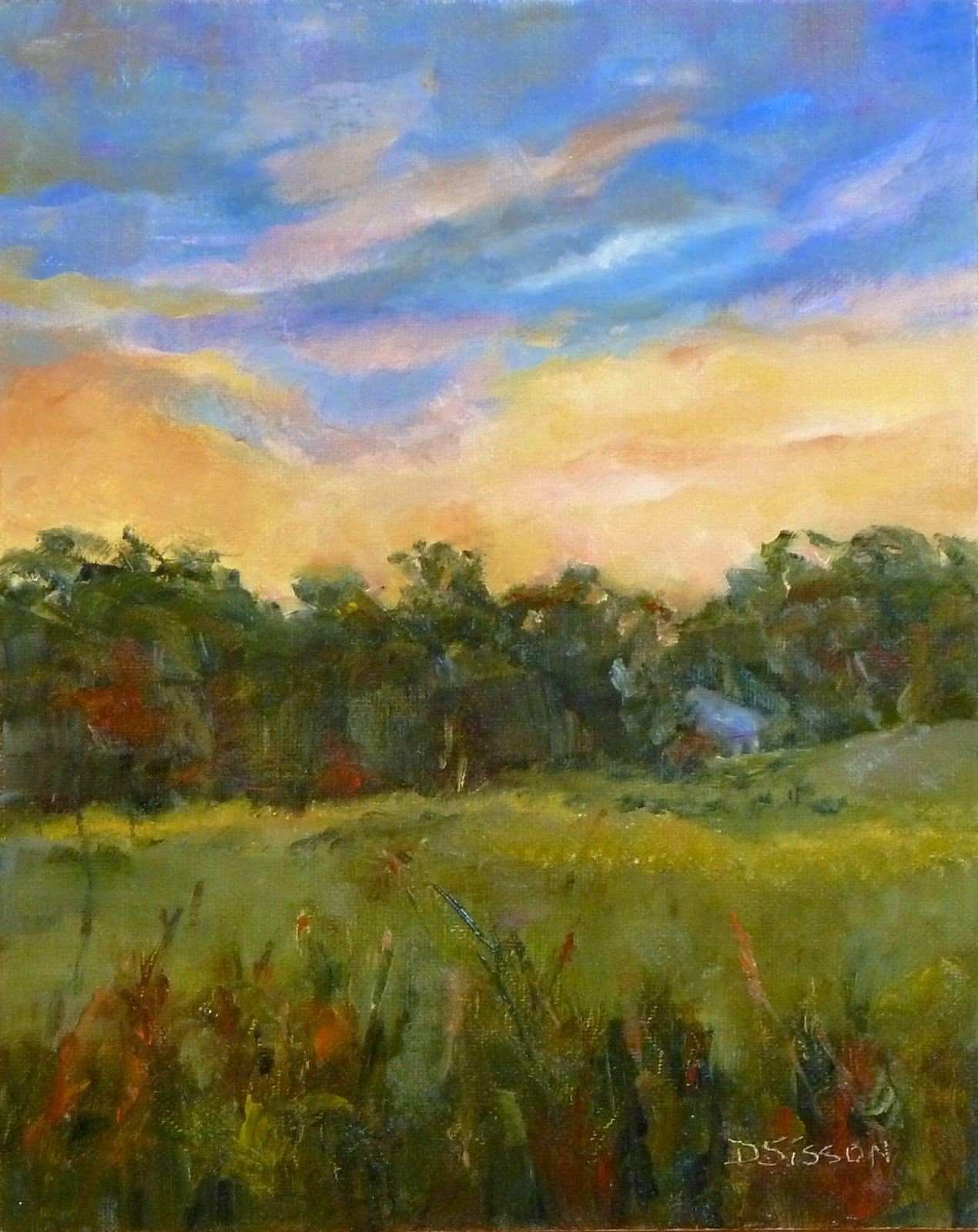 """Sunset With Country Cottage"""" Oil on canvas 10"""" x 8"""" The intense"""