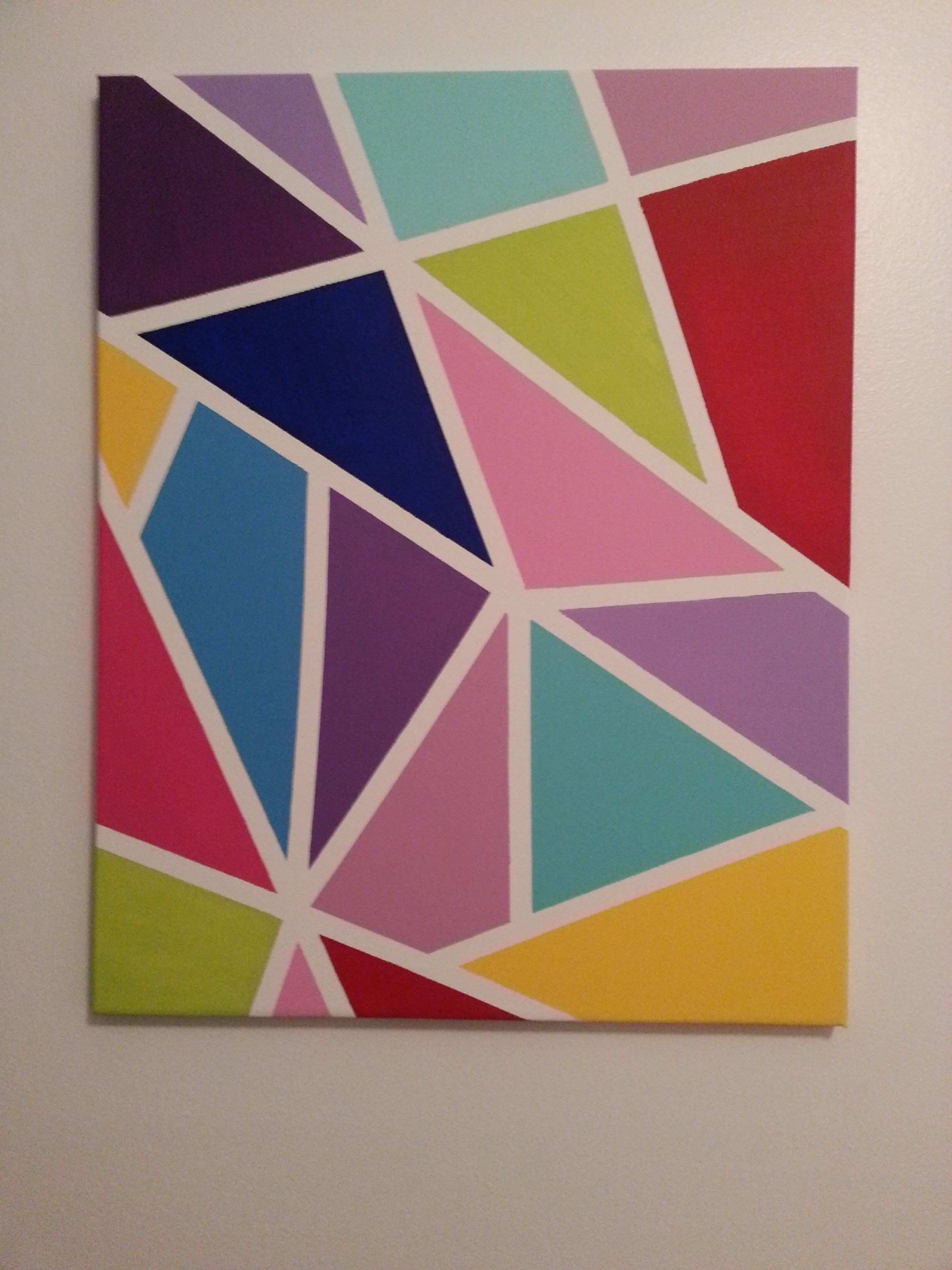 Colorful canvas made with masking tape and acrylic paint