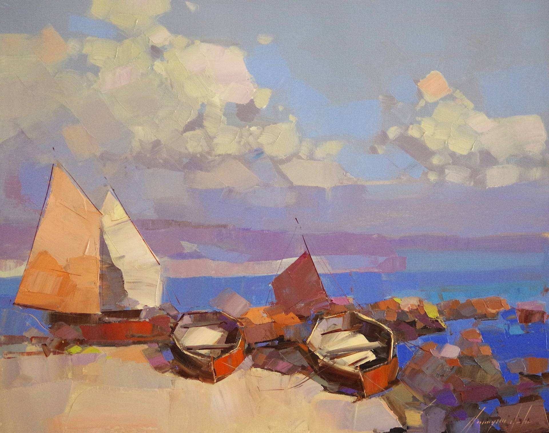 Saatchi Art Sail Boats Original oil painting by palette knife e