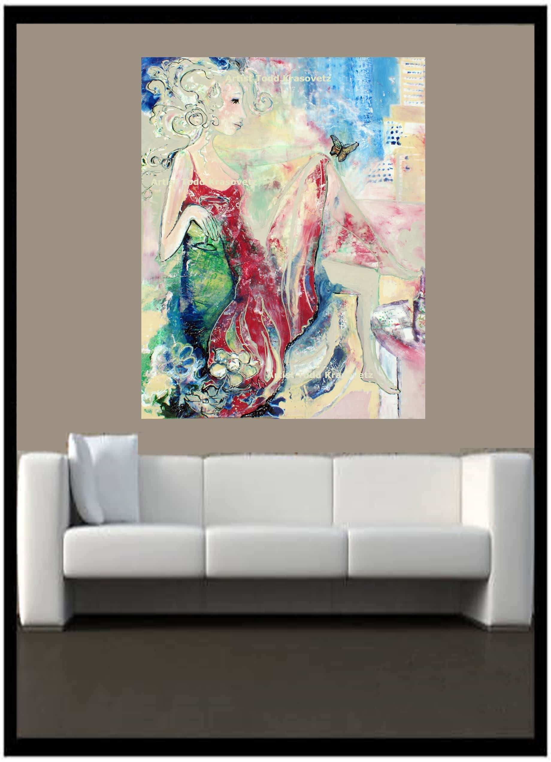 Contemporary Art Titled Woman in a Red Dress and Butterfly by Artist