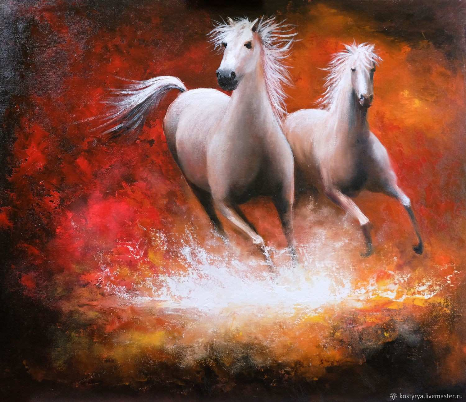 """Oil painting """"Running horse"""" based on the painting of Willem"""