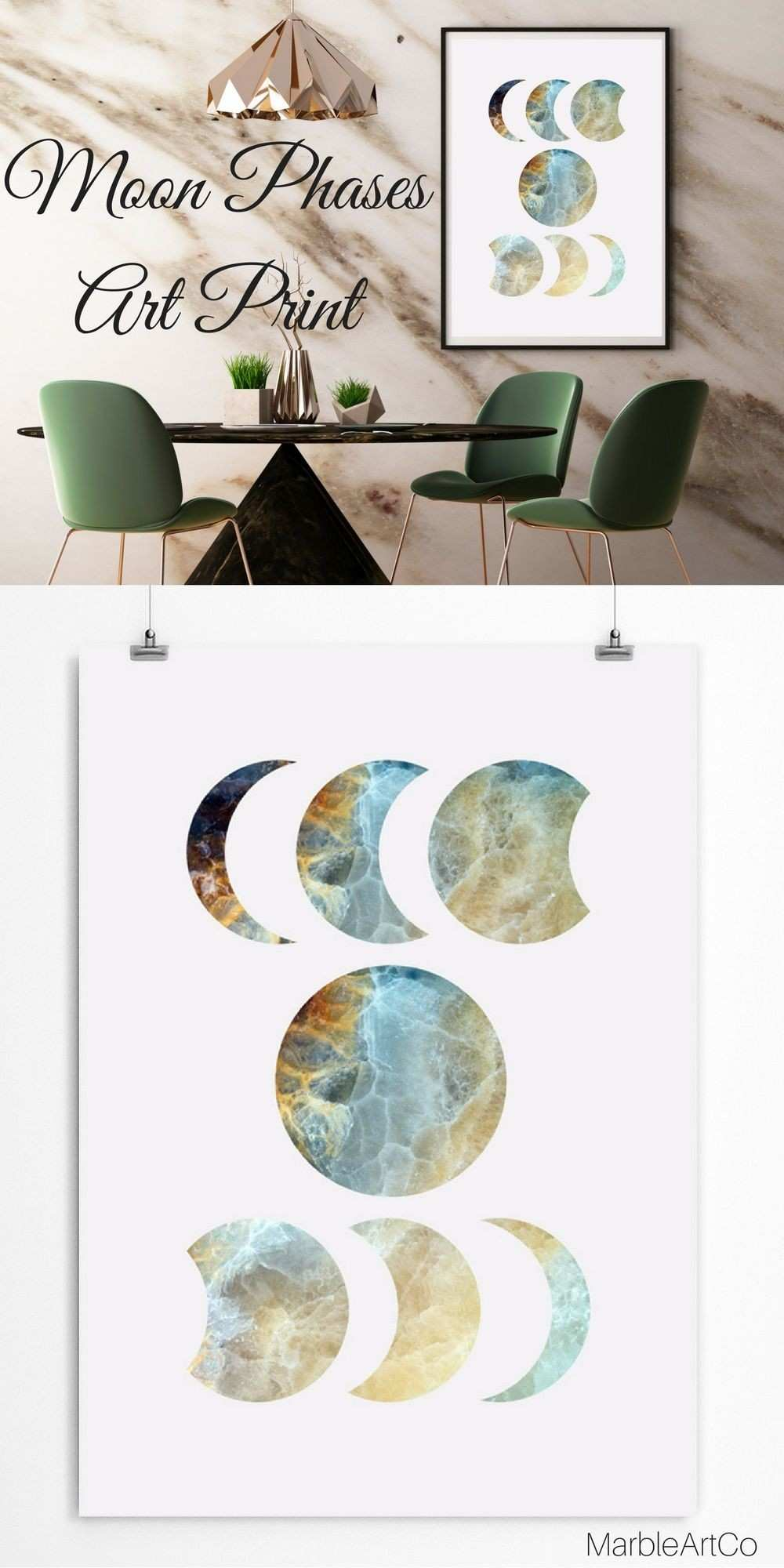 Lunar Phases Print Crescent Moon Wall Hanging Moon Phases Print Blue