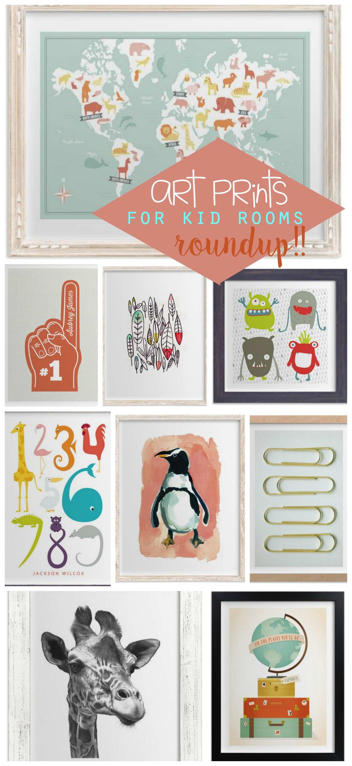 over 20 of the cutest art prints for kid rooms A girl and a glue gun