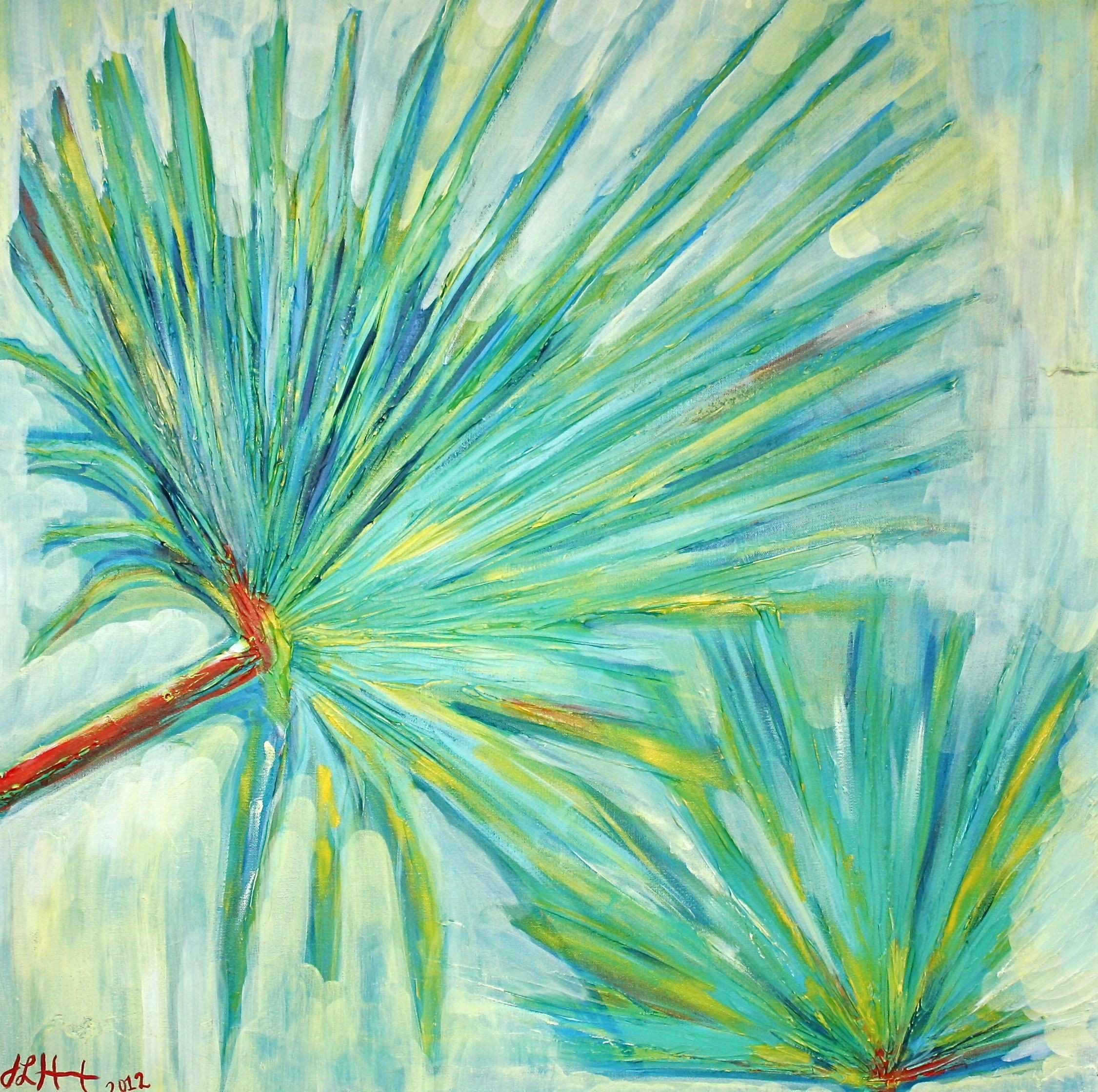 SOLD Tropical Palm Fans Acrylic Painting shop