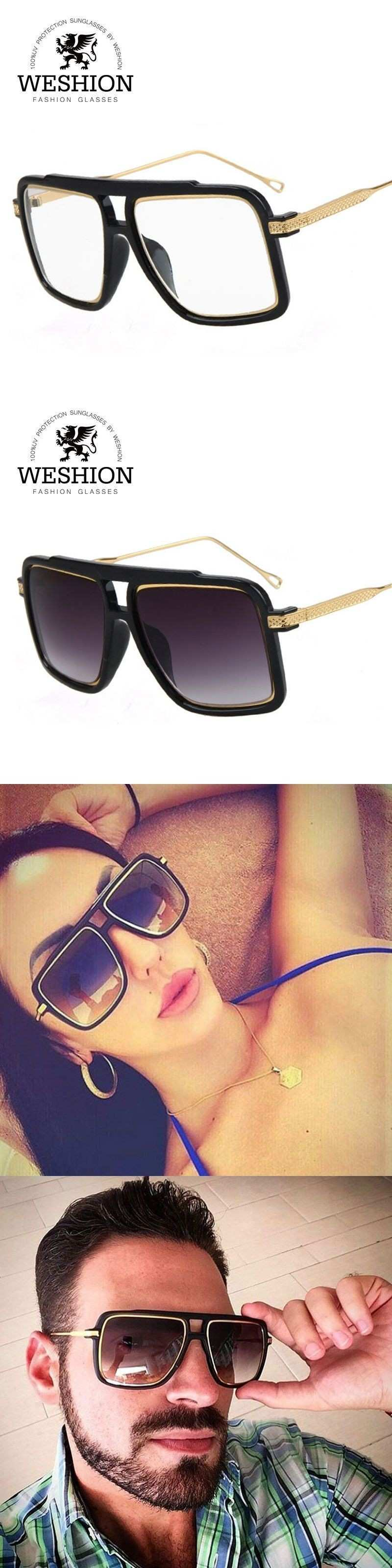 WESHION Star Style Square Men Sunglasses HD Lens Alloy Frame Fashion