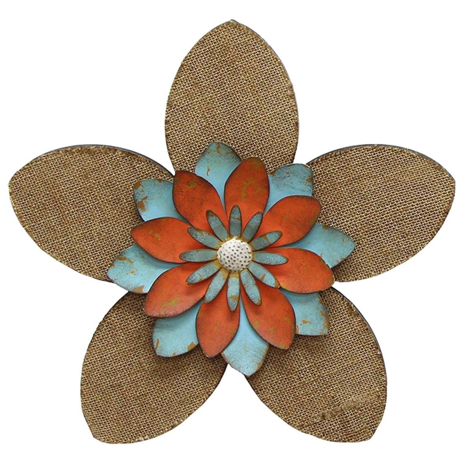 Stratton Home Decor Multi color Burlap MDF Metal Flower Wall Decor