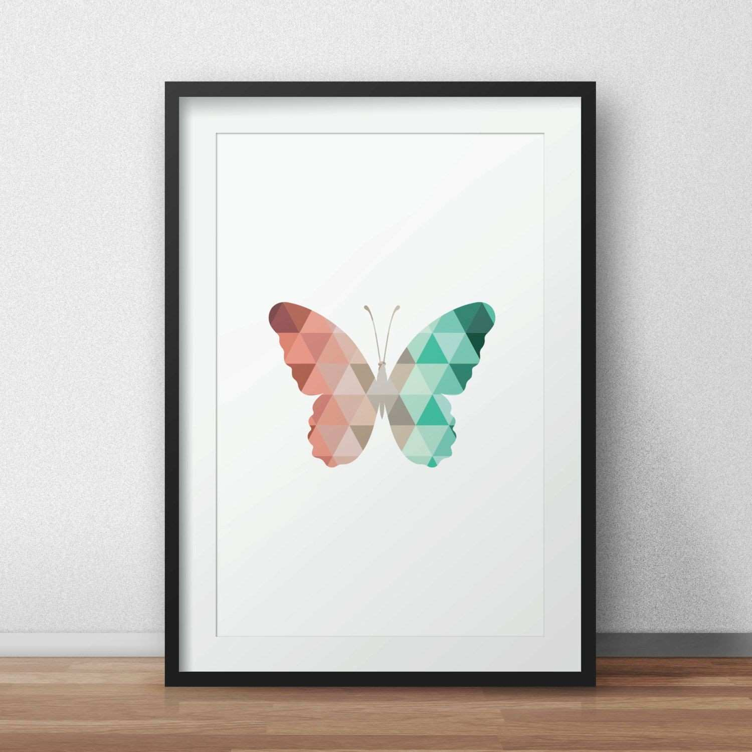 Butterfly Art Mint and Coral Butterfly Butterfly Wall Prints