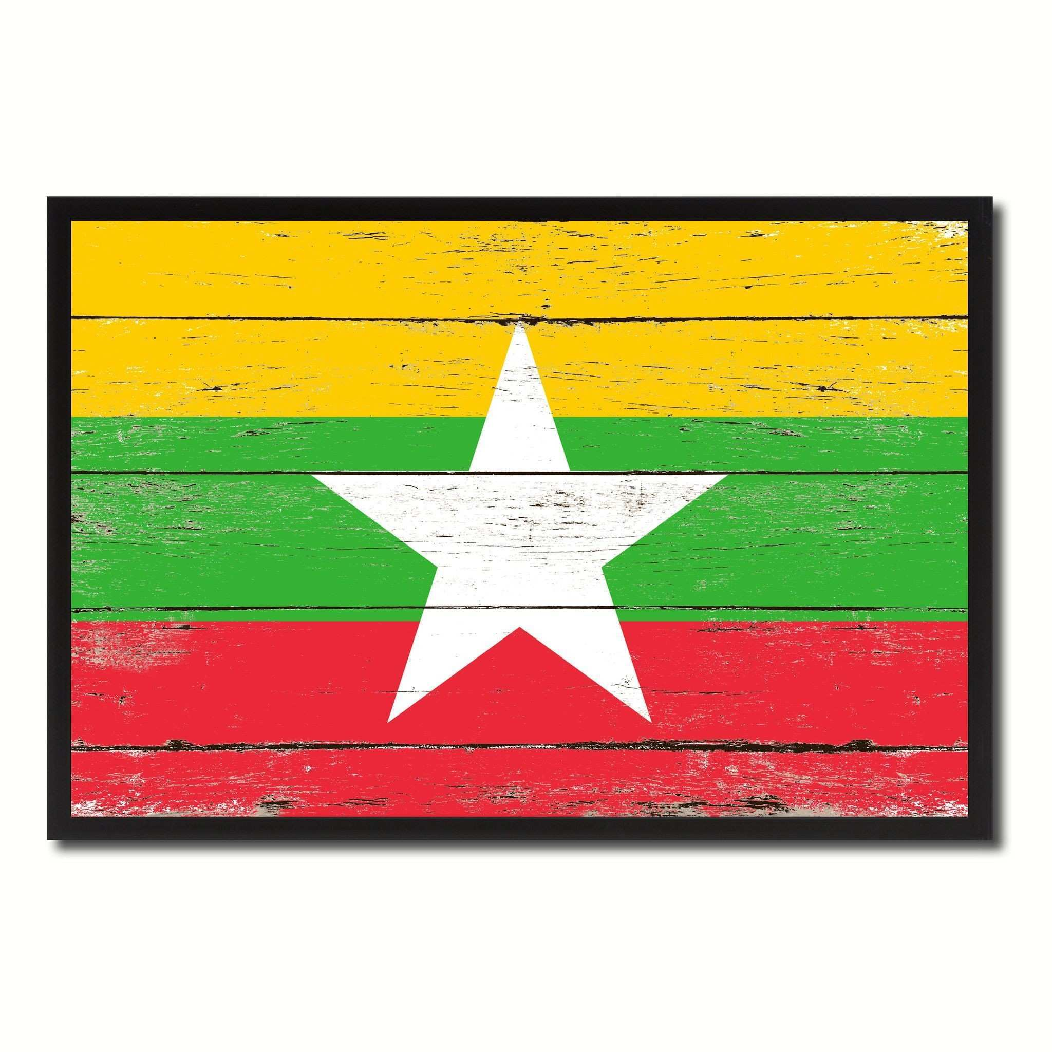 Myanmar Country National Flag Vintage Canvas Print with Picture