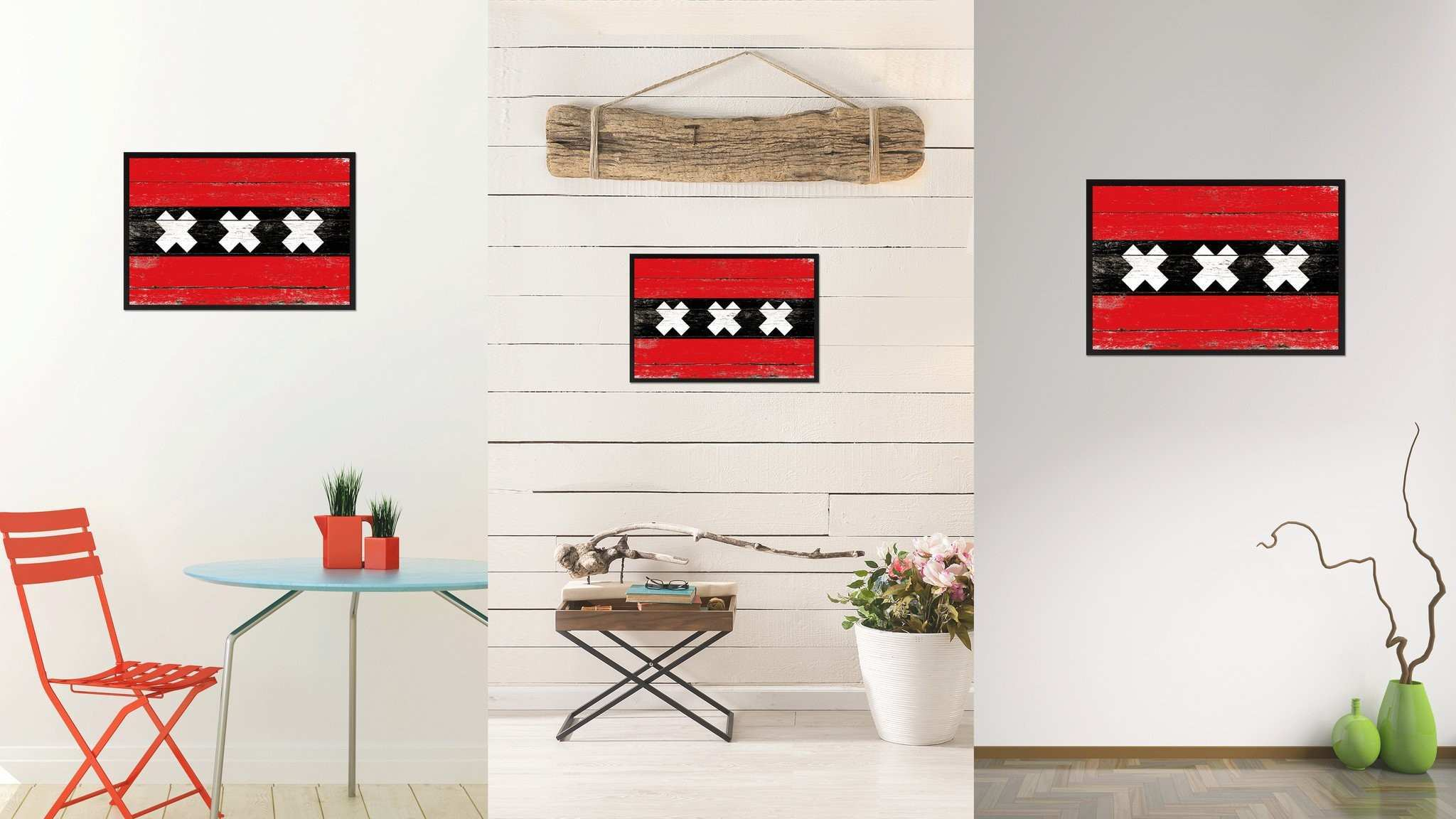 Amsterdam City Netherlands Country Vintage Flag Home Decor fice