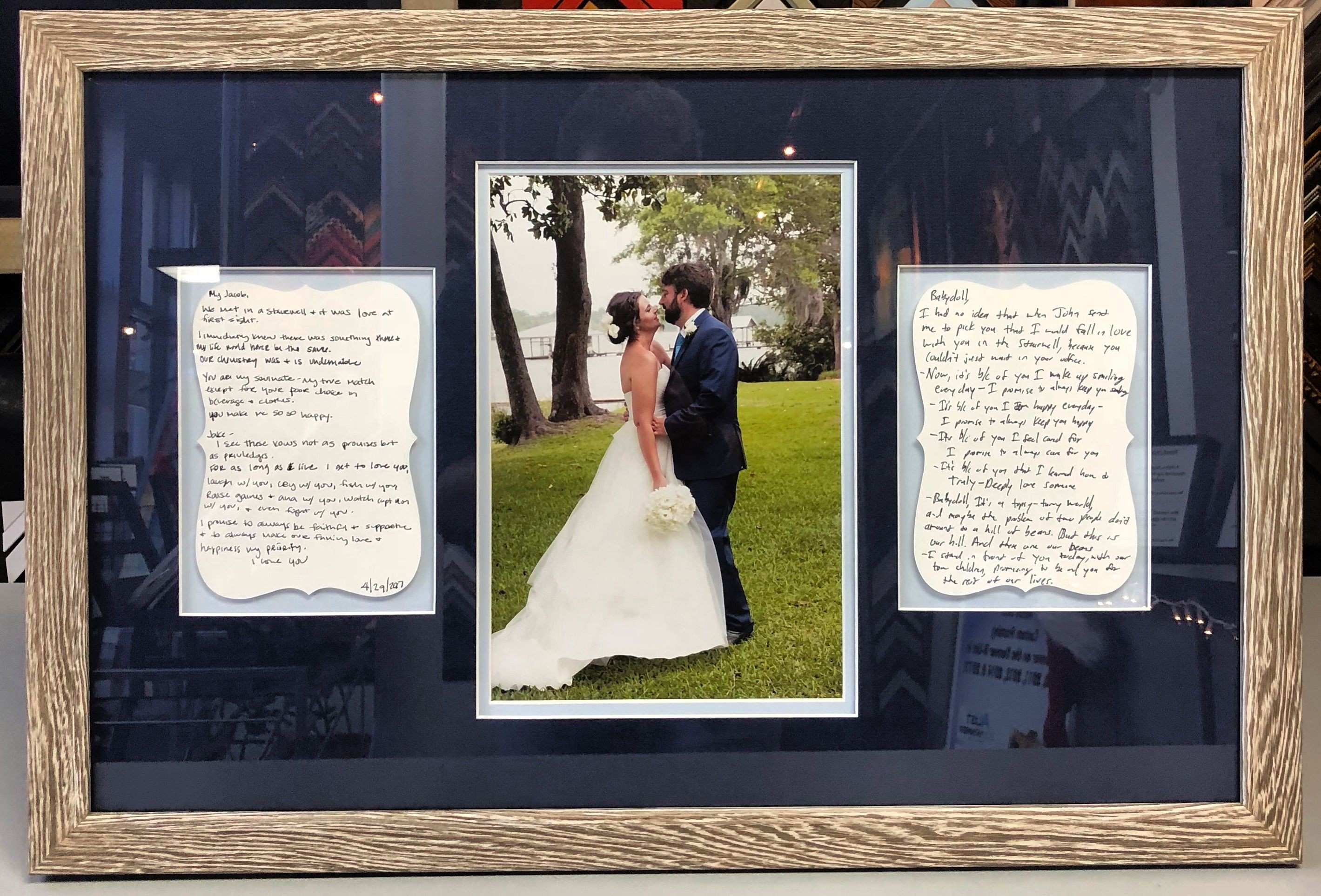 Custom framed wedding vows and photo using exclusively acid free