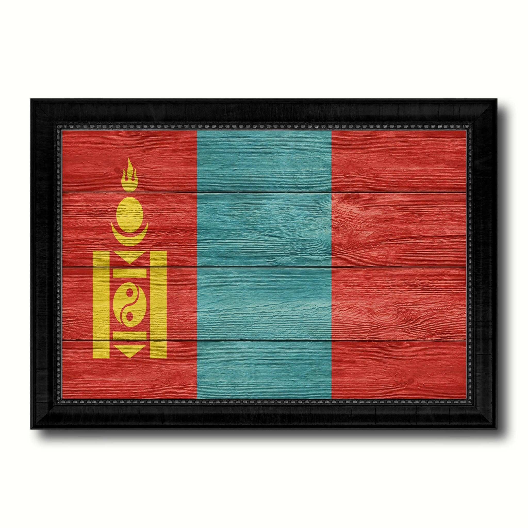 Mongolia Country Flag Texture Canvas Print with Black Picture Frame
