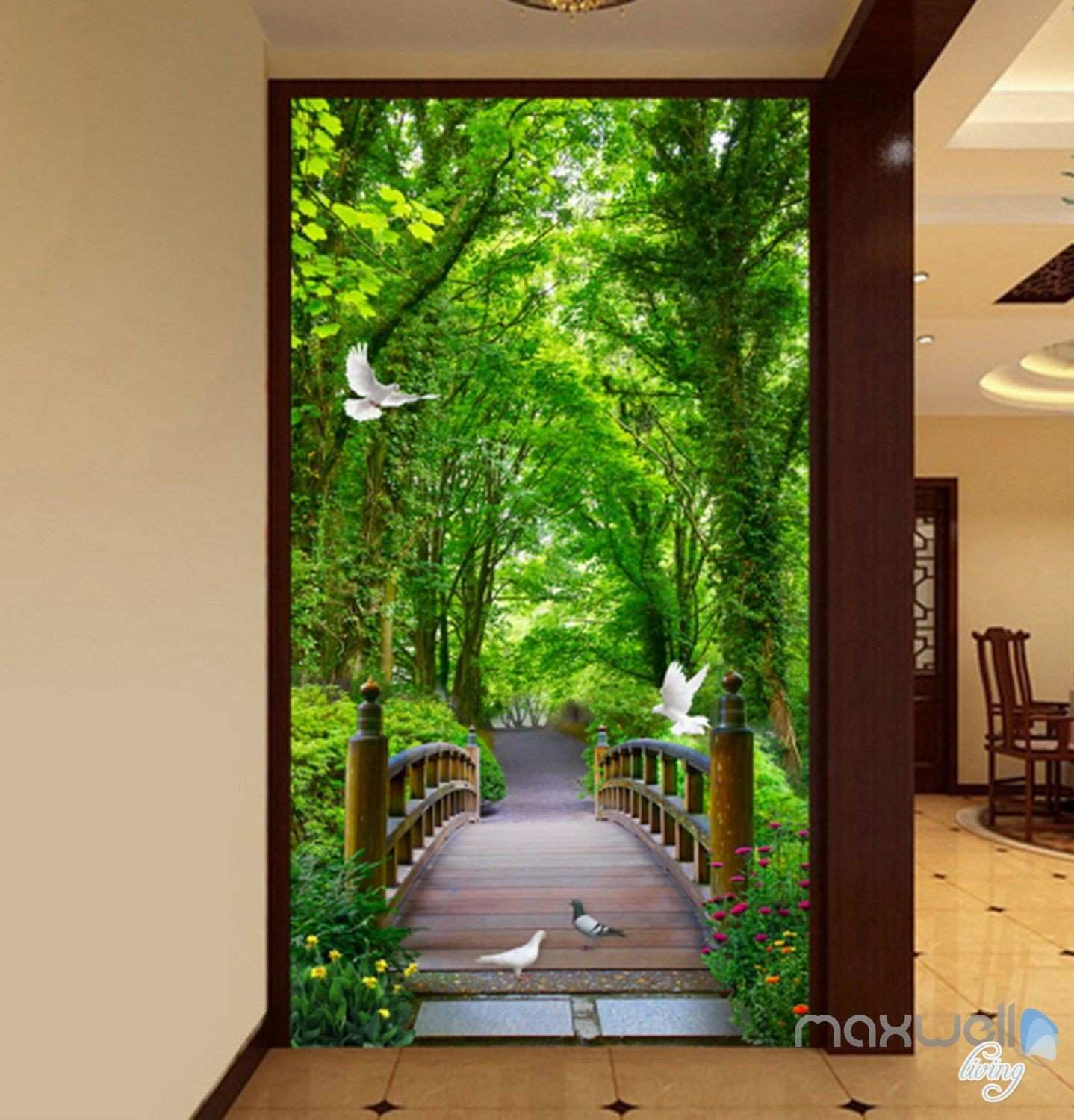 3D Forest Bridge Bird Corridor Entrance Wall Mural Decals Art Print