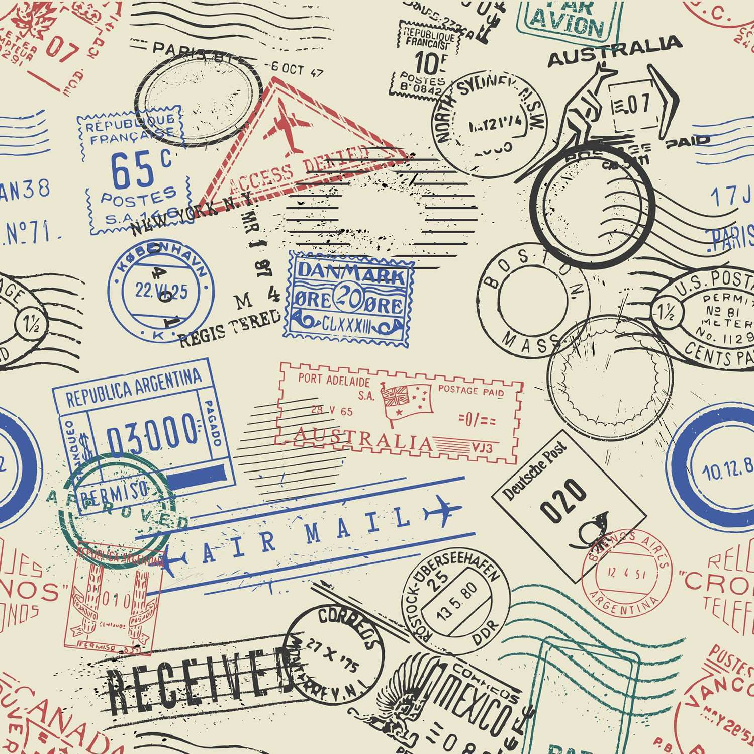 Travel Stamps Wallpaper