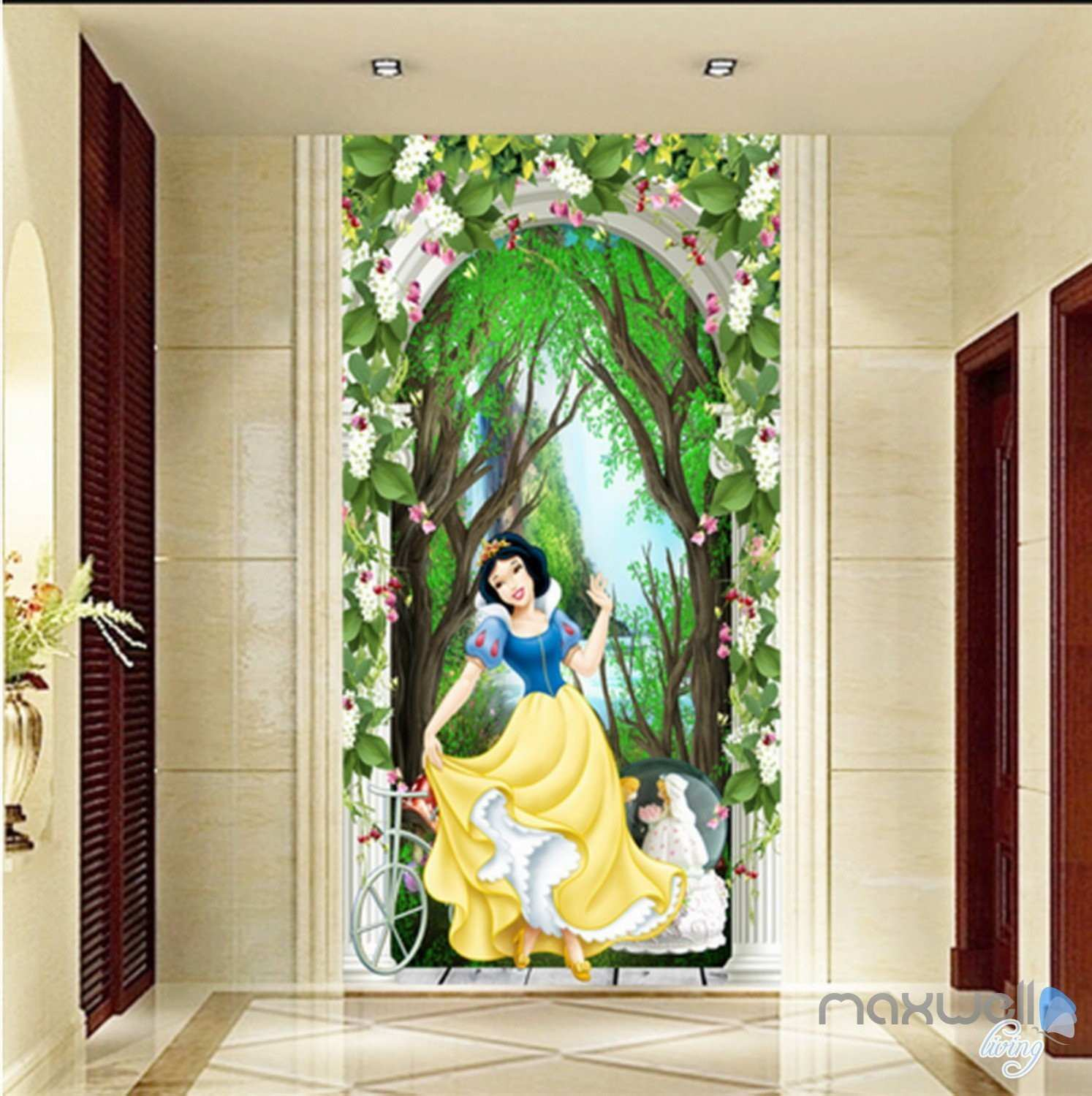 3D Snow White Princess Flower Arch Forest Corridor Entrance Wall