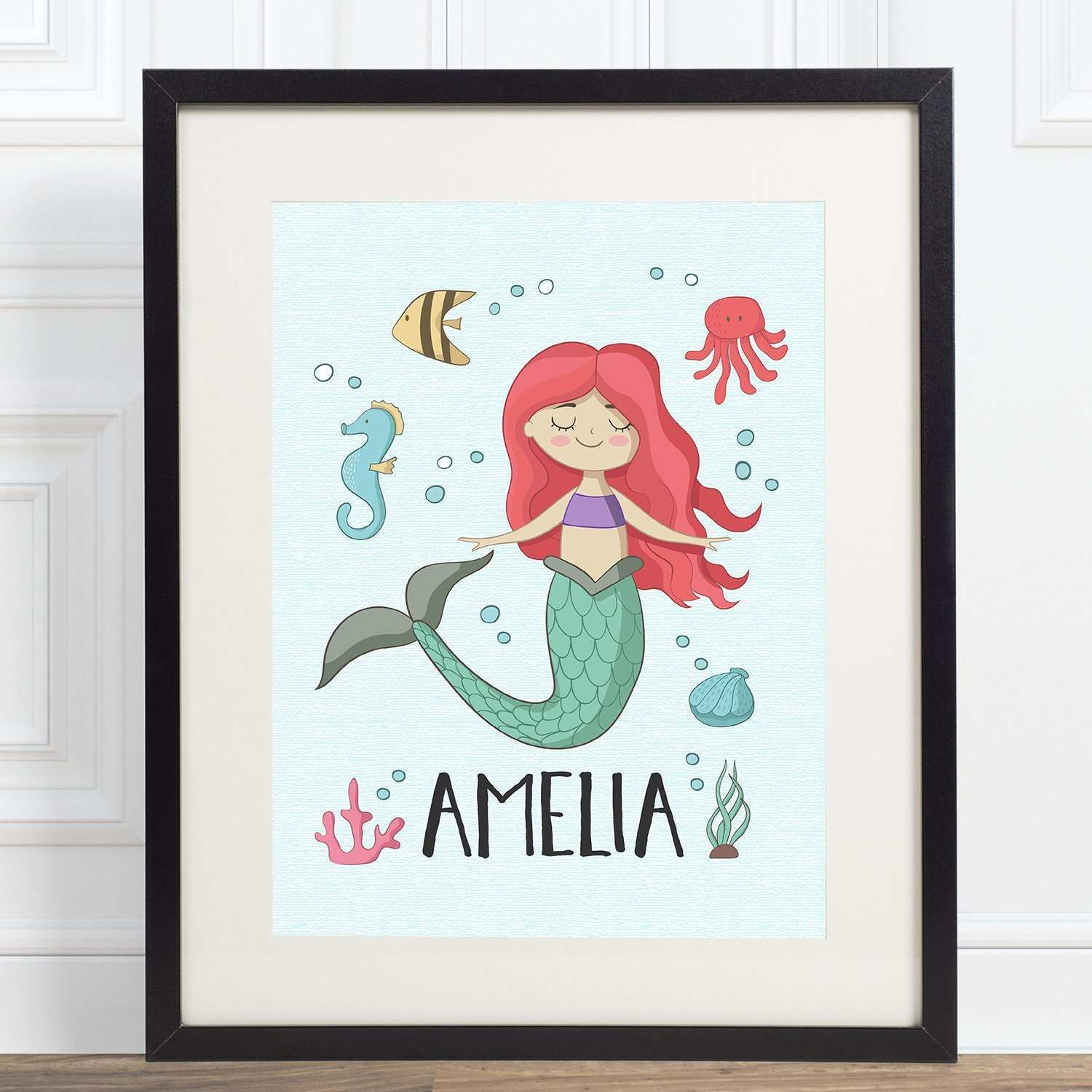 Personalized Mermaid 8x10 Poster Art Print for Kids Room Wall Decor