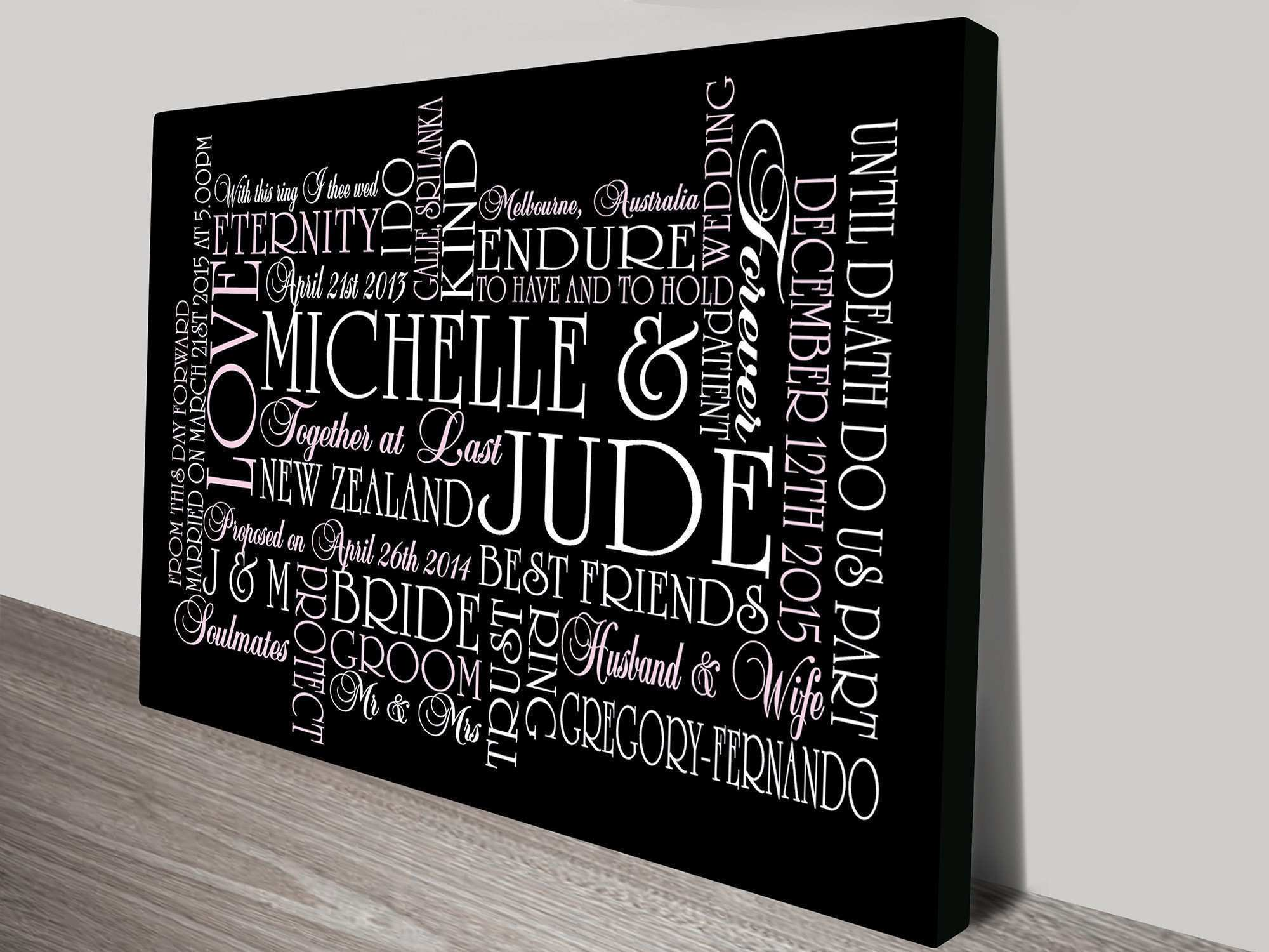 Personalised Canvas Word Art and Wedding Wall Art Gift Ideas
