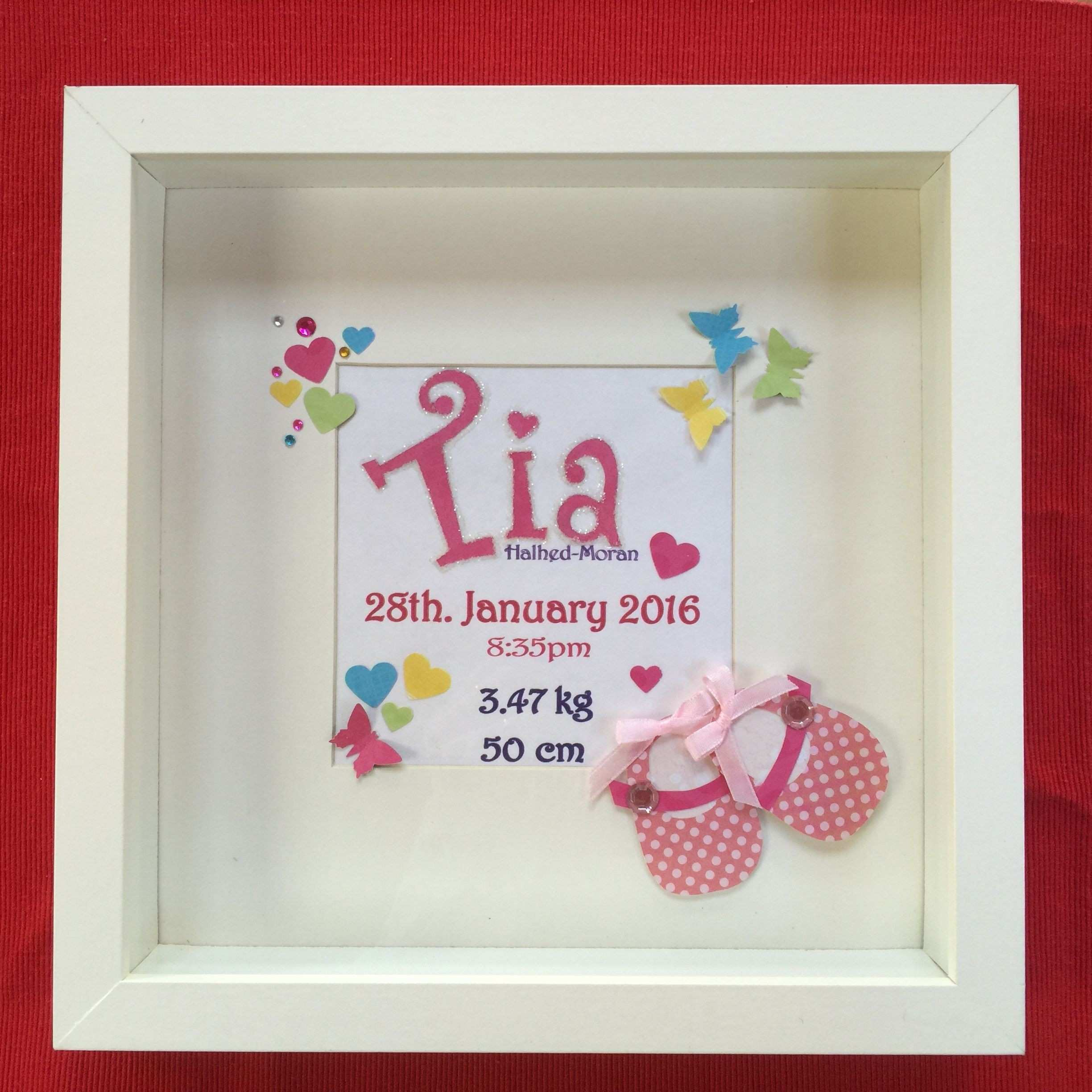 3d Crystal Picture Frames Beautiful Personalised New Baby Girl