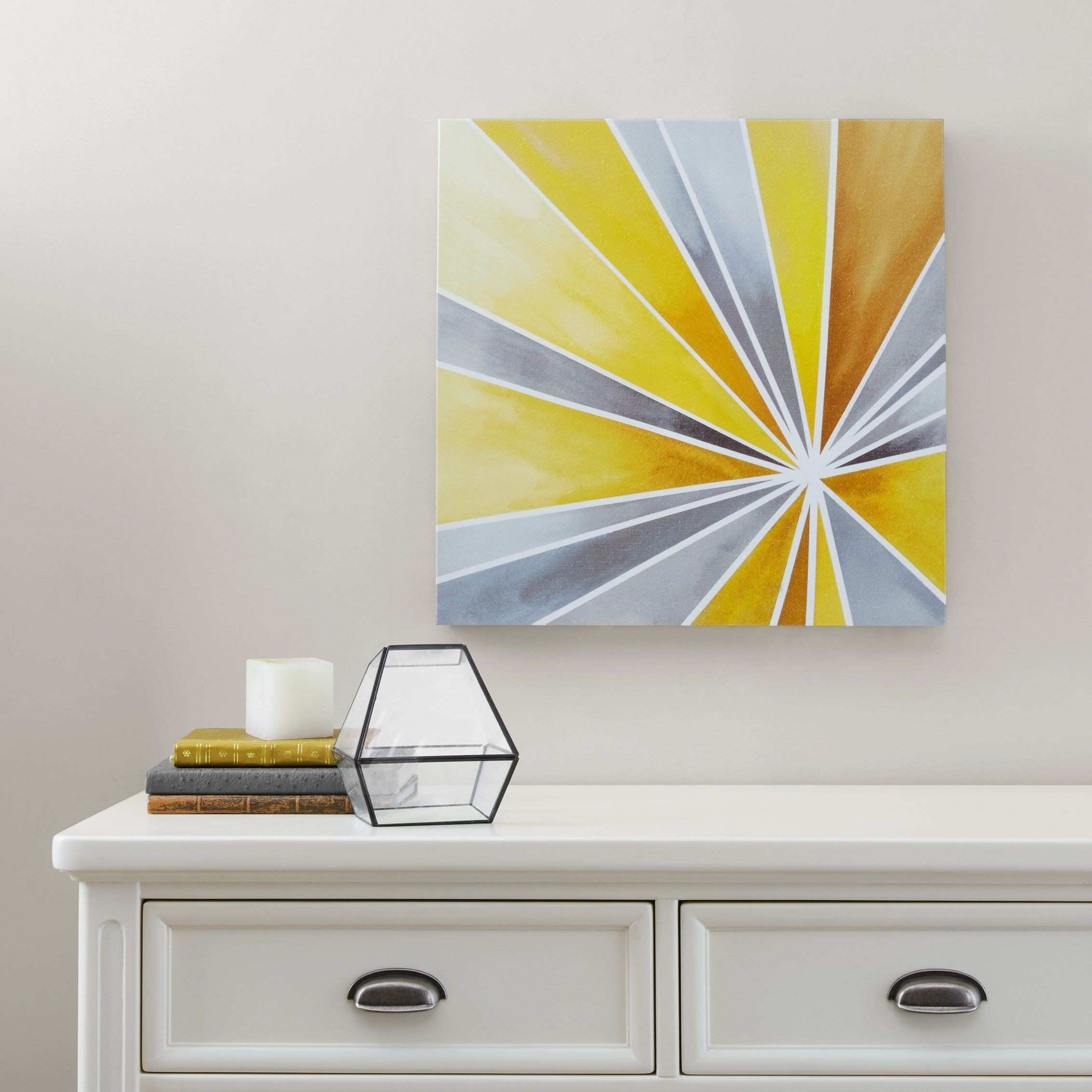 Bring a ray of sunshine with this fun and vibrant abstract piece