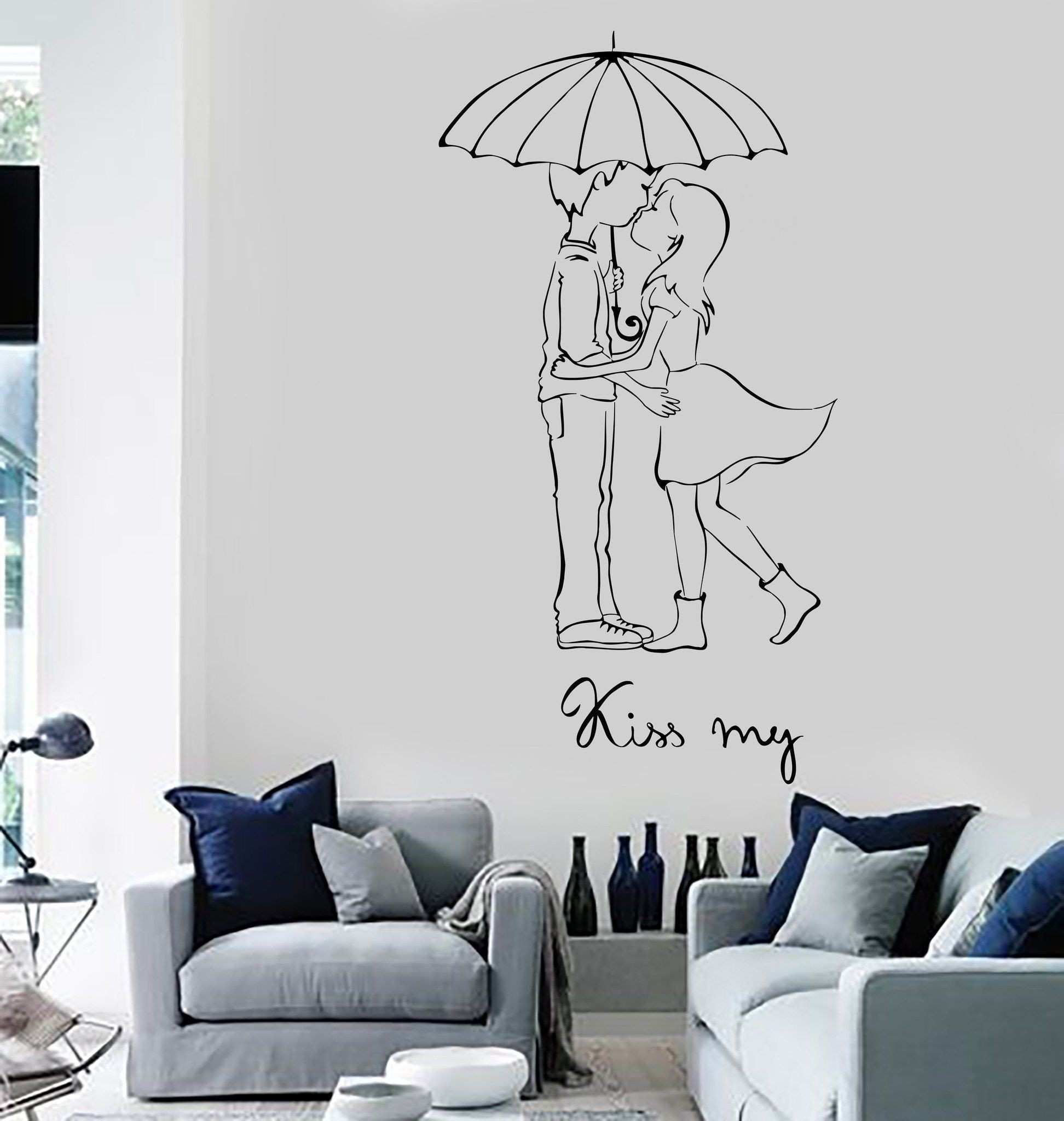 Wall Vinyl Decal Love Couple Kiss My Romantic Bedroom Decor Unique