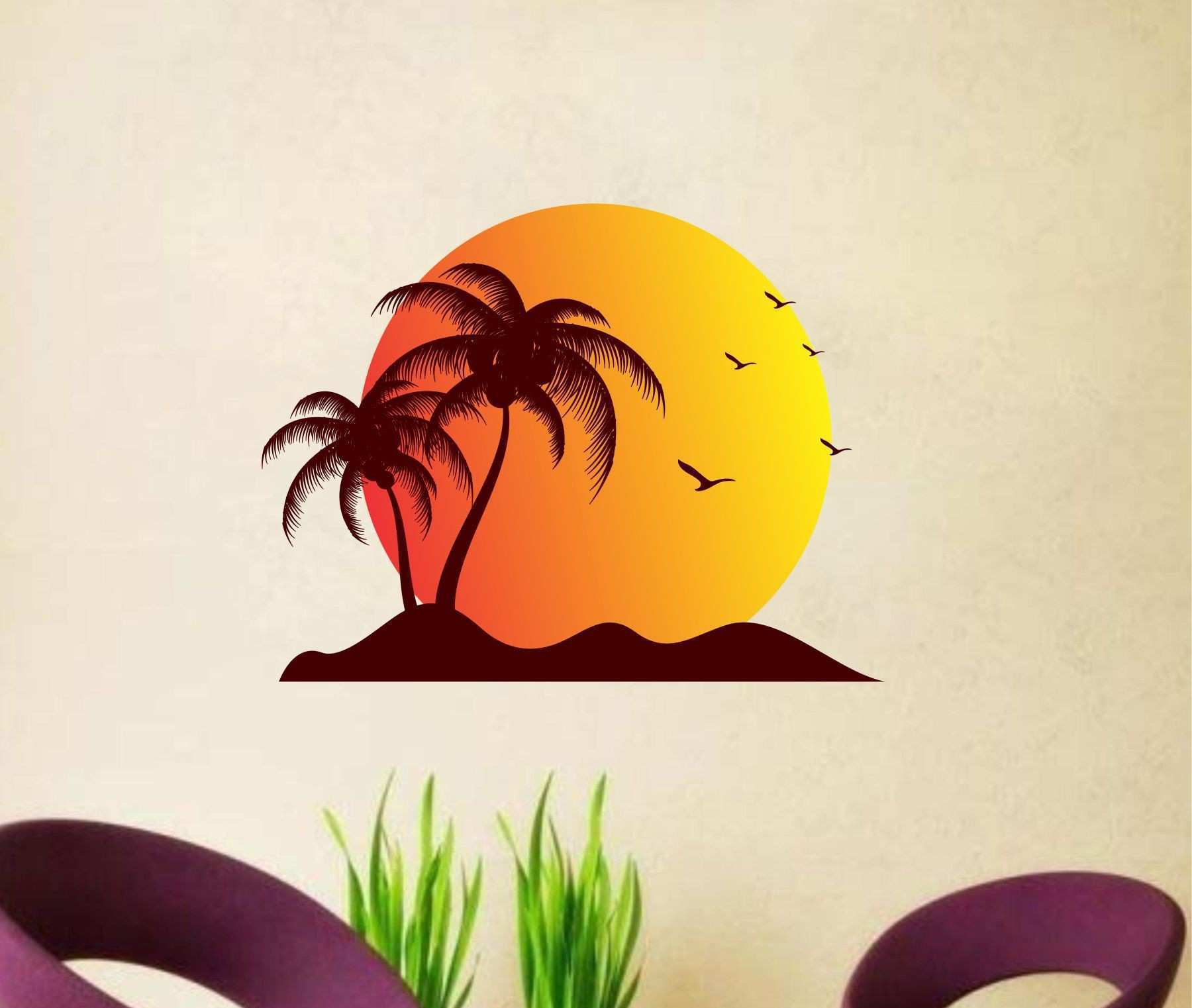 Creatick Studio Sun Beach Birds Nature Nature PVC 3D Sticker Buy