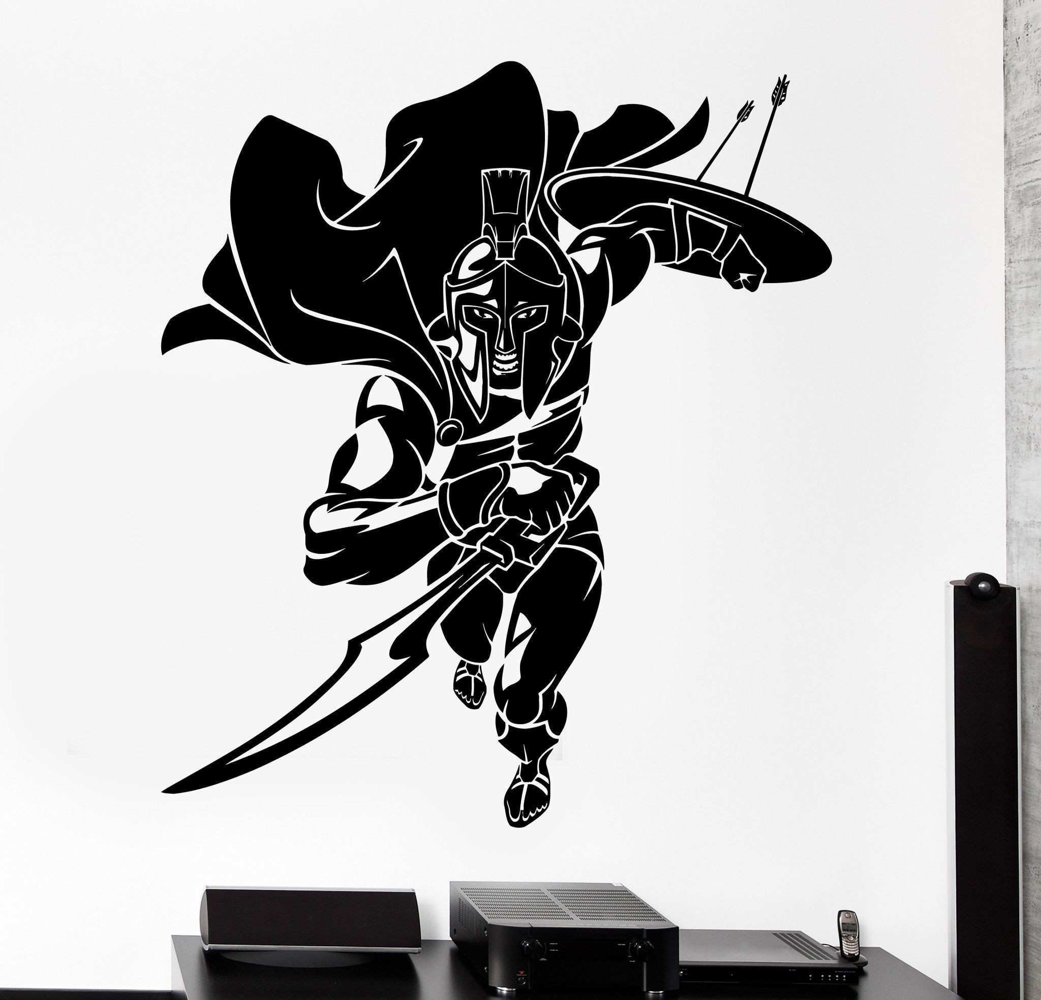 Wall Vinyl Decal Sparta Spartan Warrior Sol r Fighting Home
