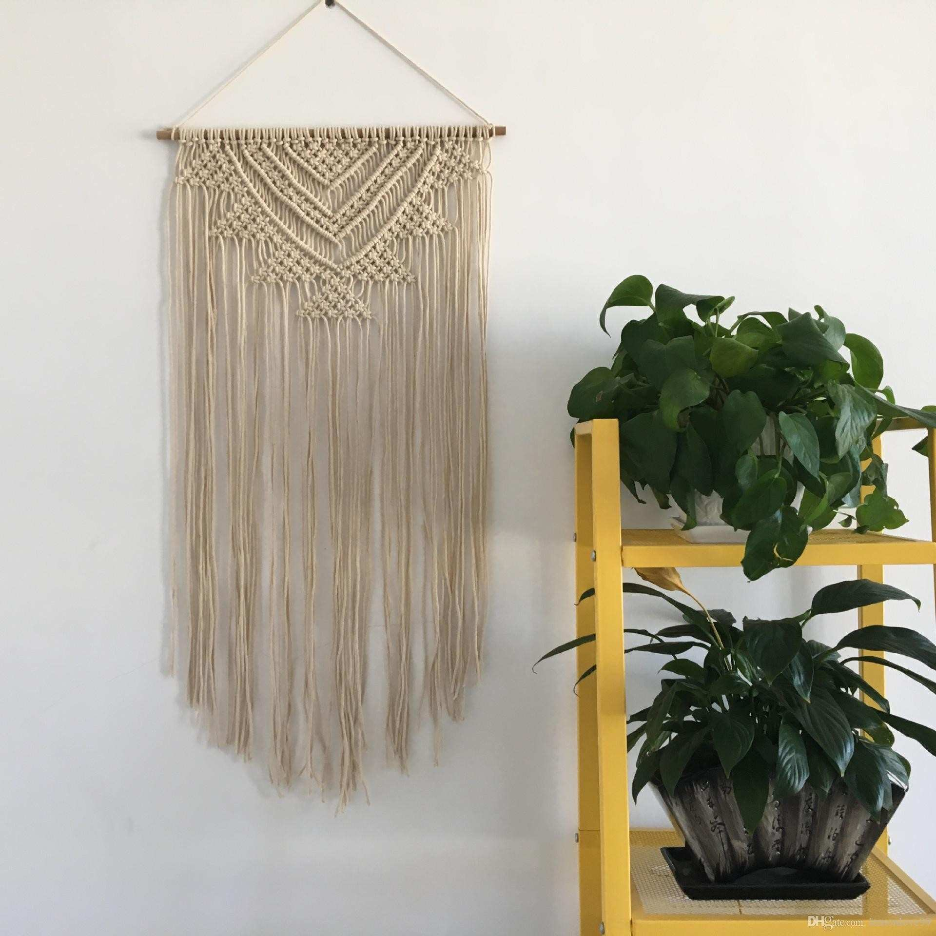 Cotton Rope Handmade Bead Macrame Tapestry Wedding Wall Hanging Home
