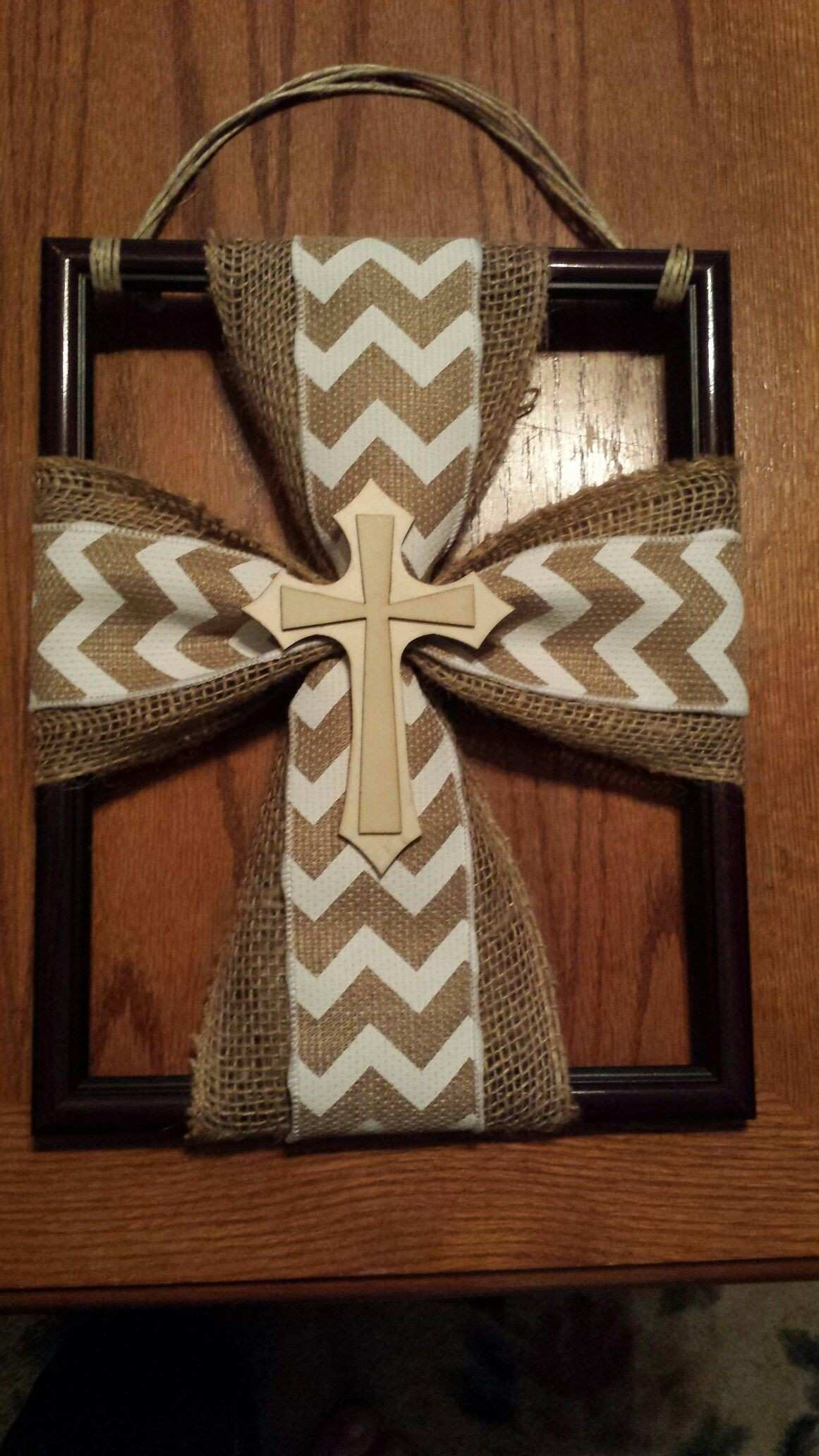 Burlap Cross Hanger on a Picture Frame Art Show
